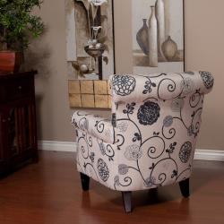 Shop Floral Grey Accent Club Chair   Free Shipping Today   Overstock.com    5992181