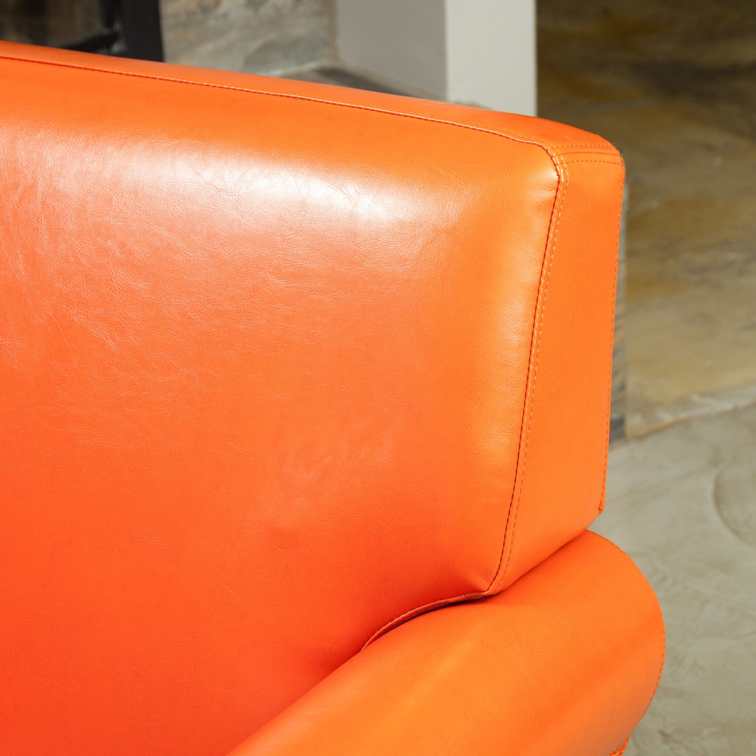 Shop Rolled Arm Leather Burnt Orange Club Chair By Christopher Knight Home    Free Shipping Today   Overstock.com   5992316