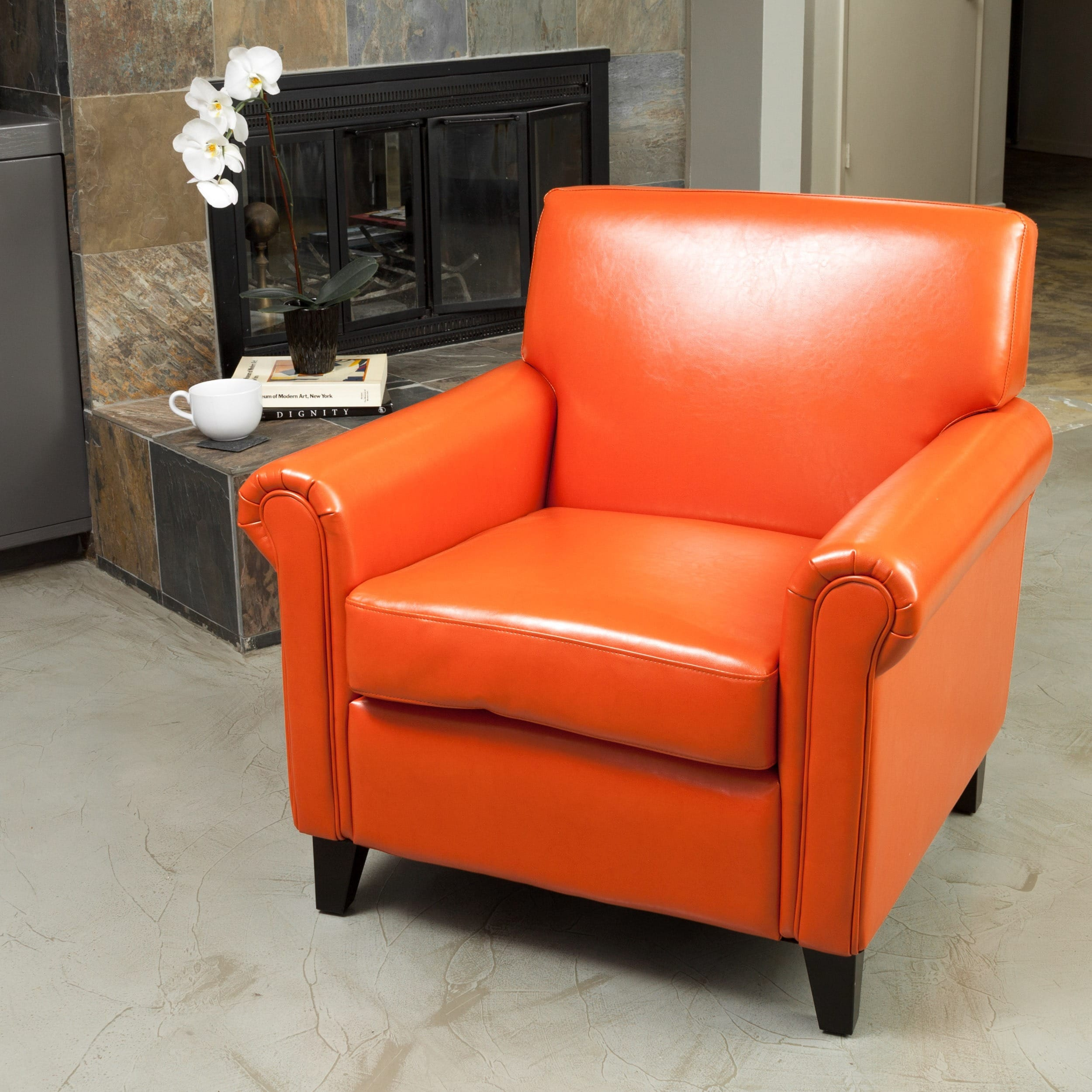rolled arm leather burnt orange club chair by christopher knight