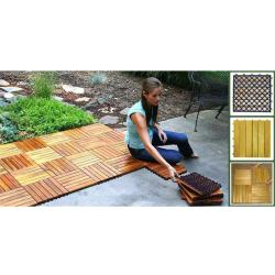 Acacia Hardwood Deck Tiles Pack Of 10 On Free Shipping Today 5992753