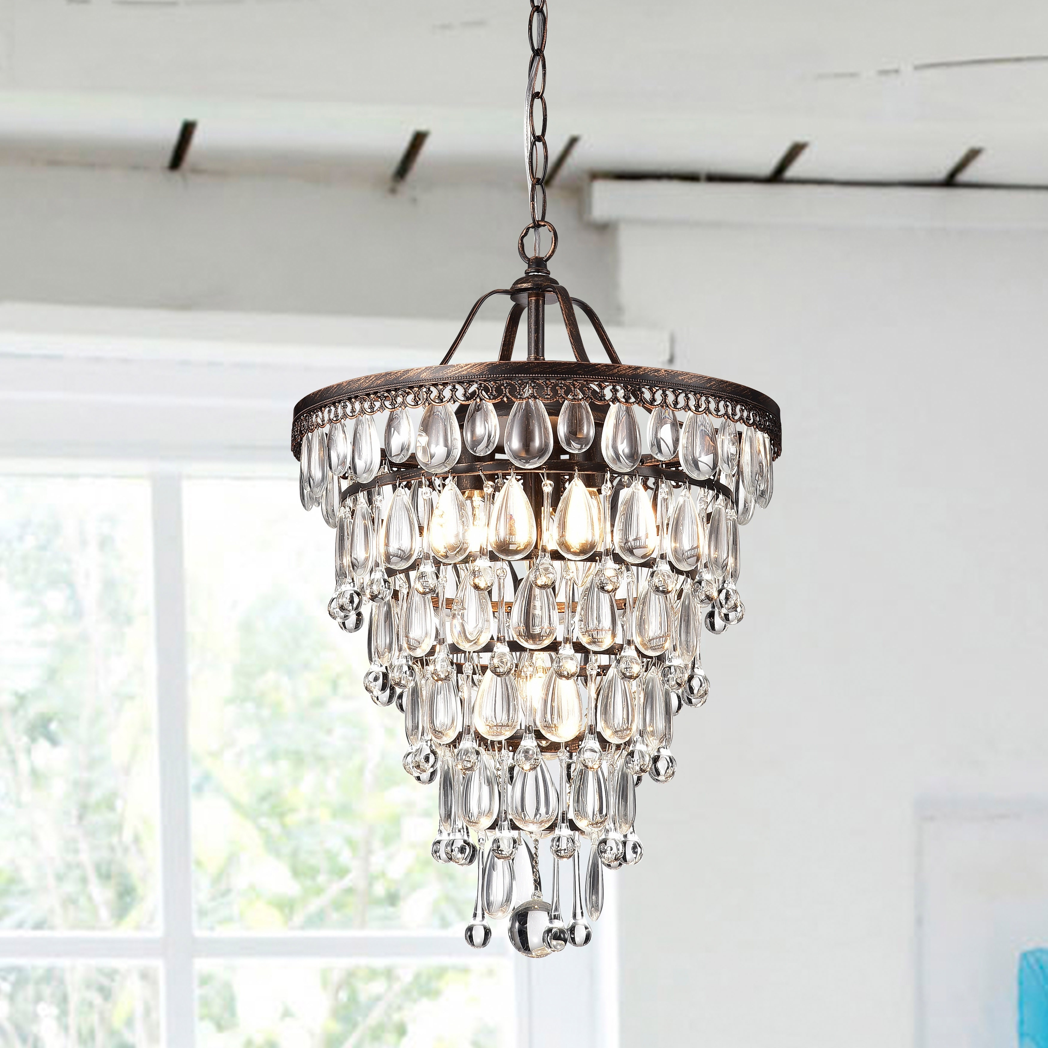 Conical 4 light Antique Brass Crystal Chandelier Free Shipping