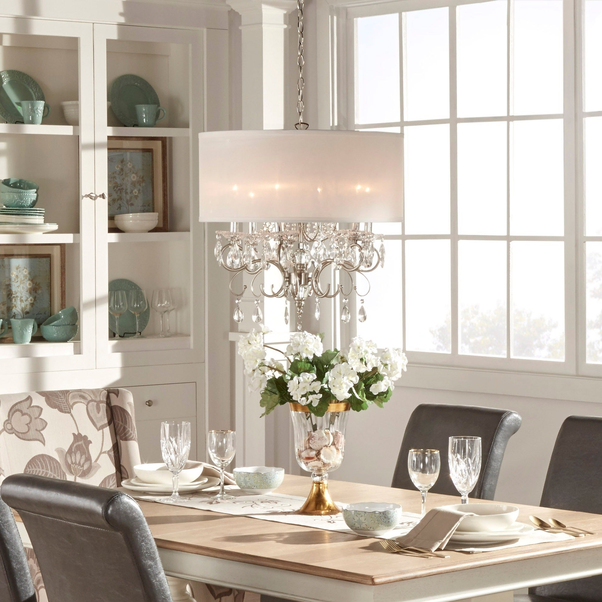 Silver Mist Hanging Crystal Drum Shade Chandelier by iNSPIRE Q Classic -  Free Shipping Today - Overstock.com - 13689270