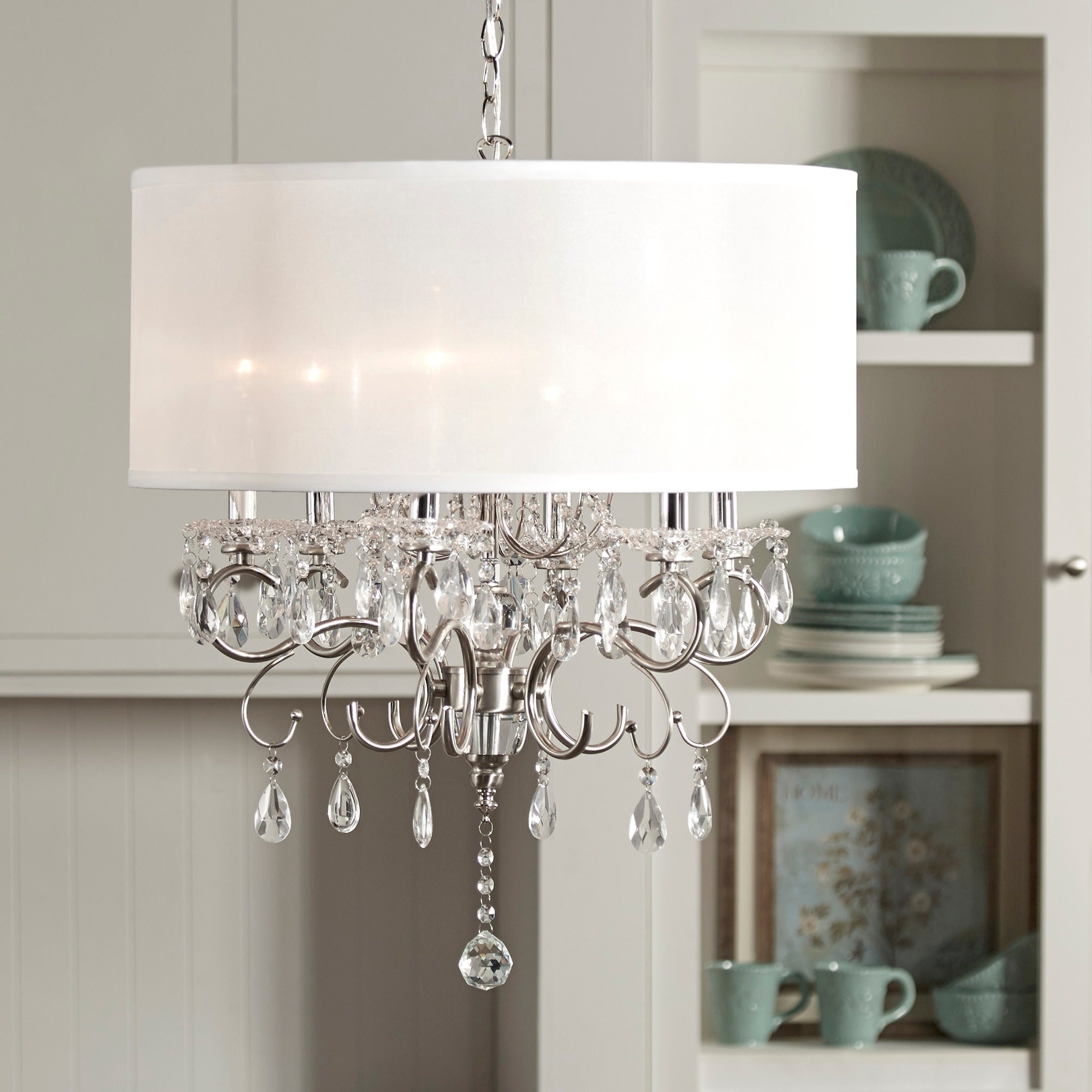 Shop silver mist hanging crystal drum shade chandelier by inspire q shop silver mist hanging crystal drum shade chandelier by inspire q classic free shipping today overstock 6002814 aloadofball Gallery
