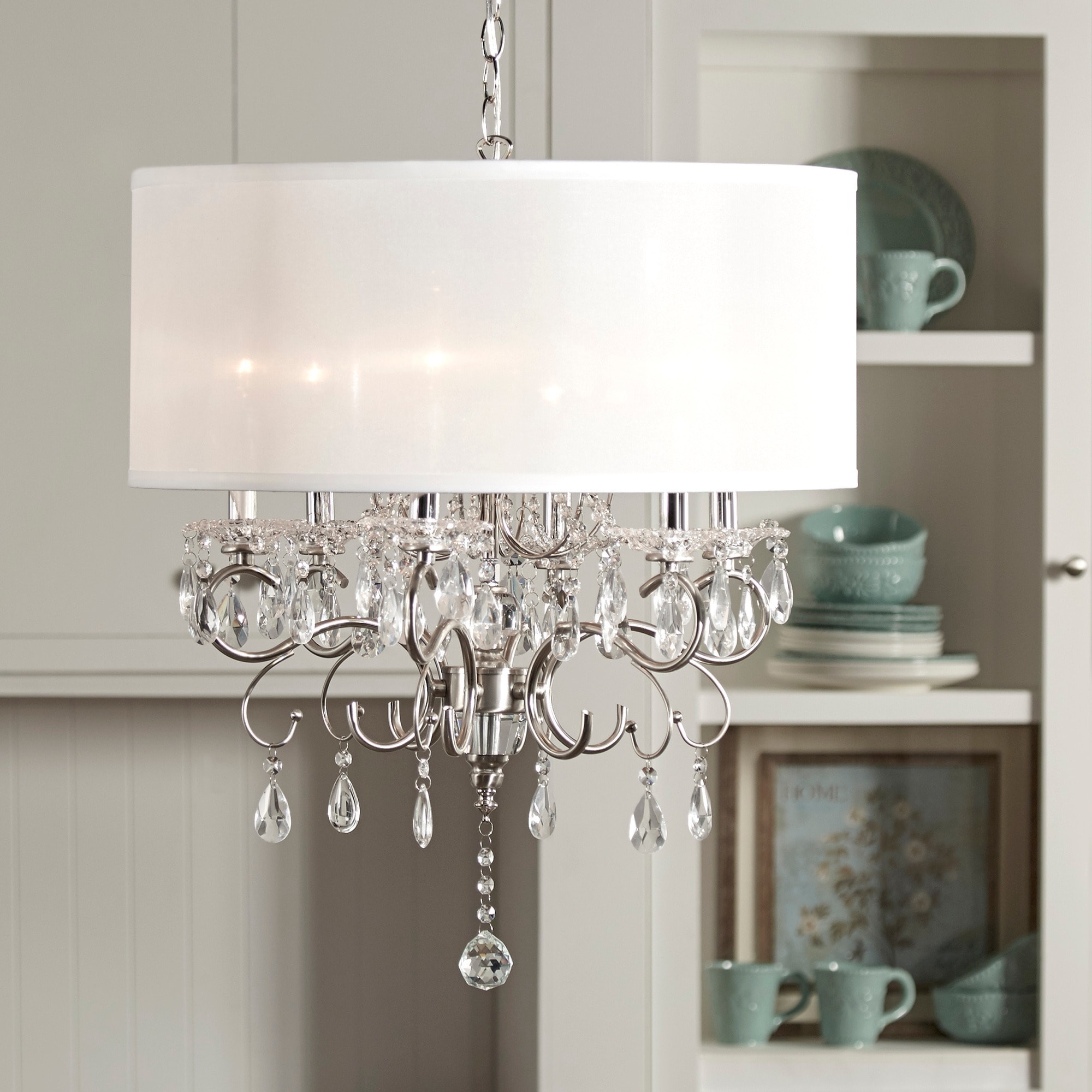 Shop silver mist hanging crystal drum shade chandelier by inspire q shop silver mist hanging crystal drum shade chandelier by inspire q classic free shipping today overstock 6002814 aloadofball