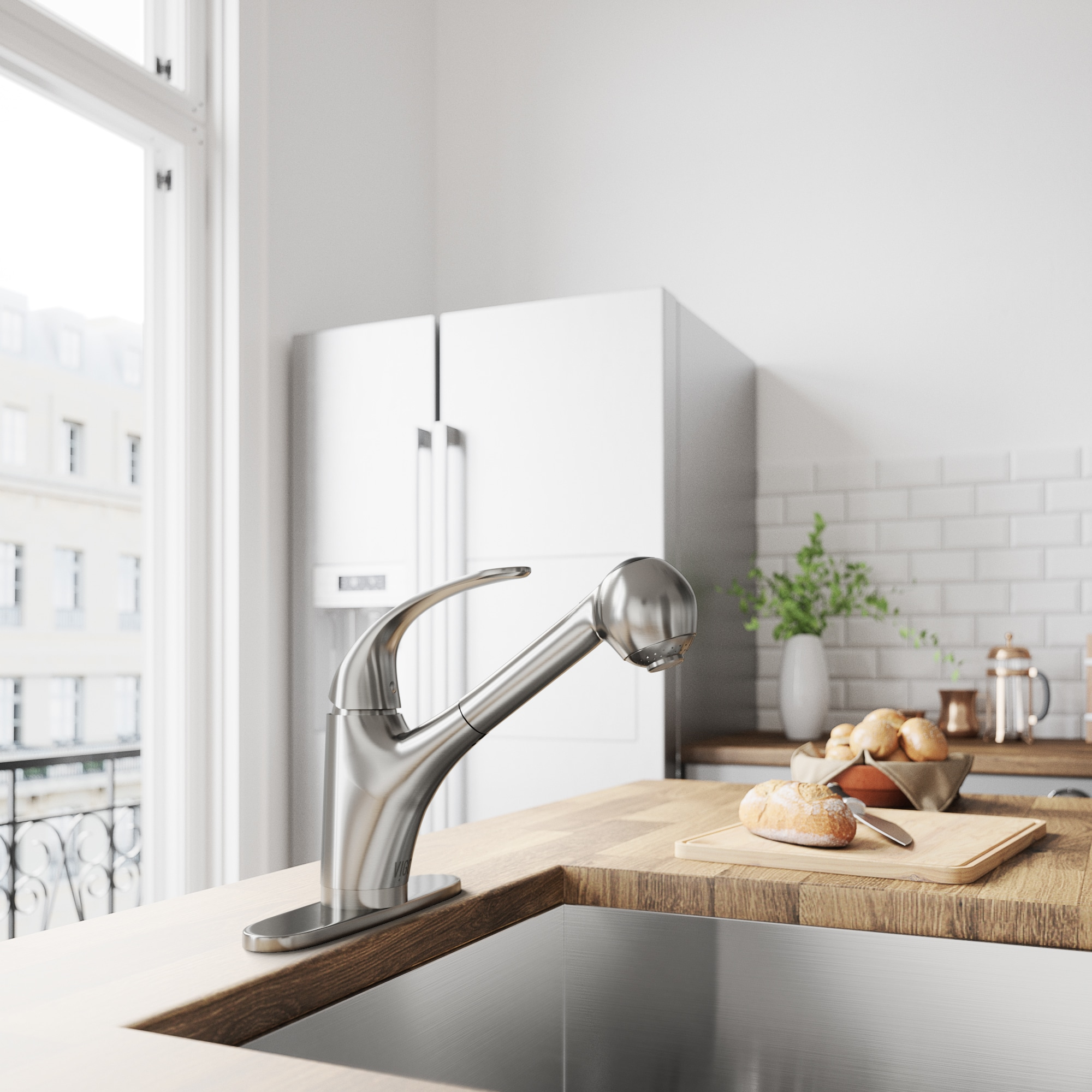 VIGO Alexander Stainless Steel Pull-Out Spray Kitchen Faucet with ...