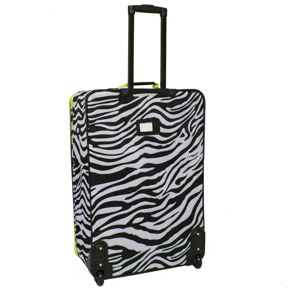 0131d3eb7da2 Shop Rockland Deluxe Lime Zebra 2-piece Expandable Lightweight Carry-on  Luggage Set - Free Shipping Today - Overstock.com - 6006781
