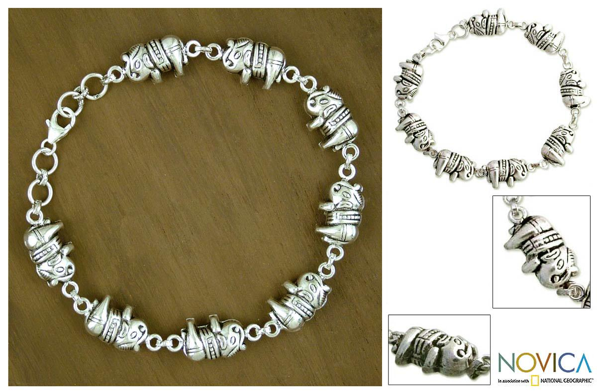Shop Handmade Sterling Silver Lucky Elephants Link Bracelet India