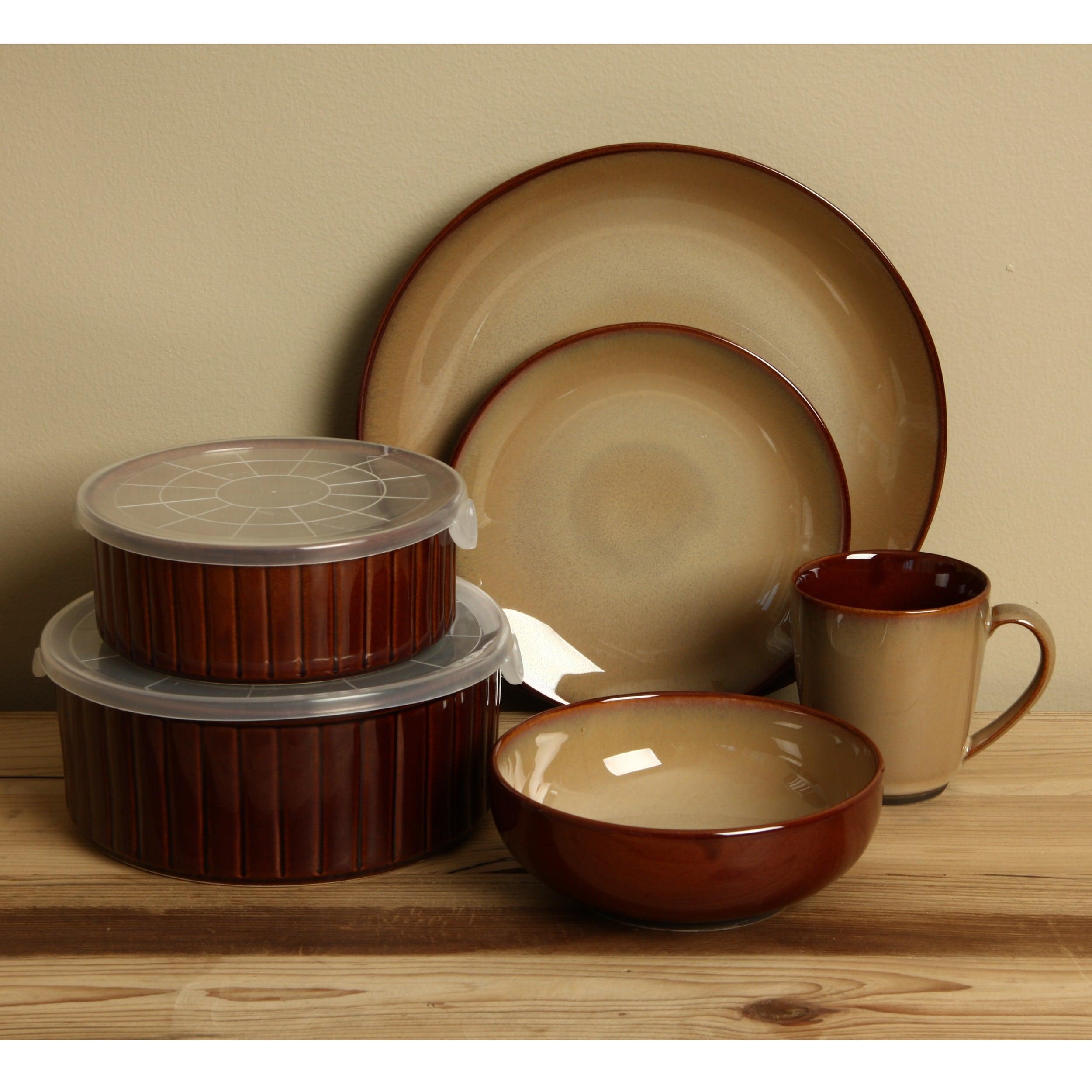 Shop Sango Nova Brown 20-piece Dinnerware Set - Free Shipping Today ...