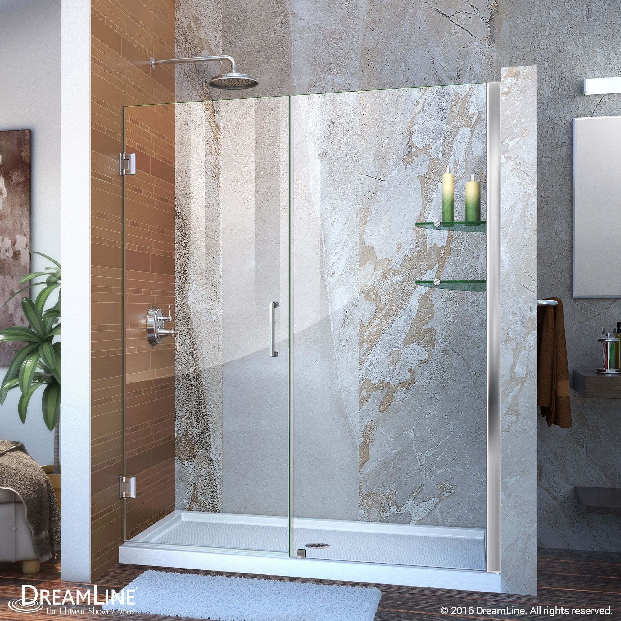 Shop DreamLine Unidoor 58-59 in. W x 72 in. H Frameless Hinged ...