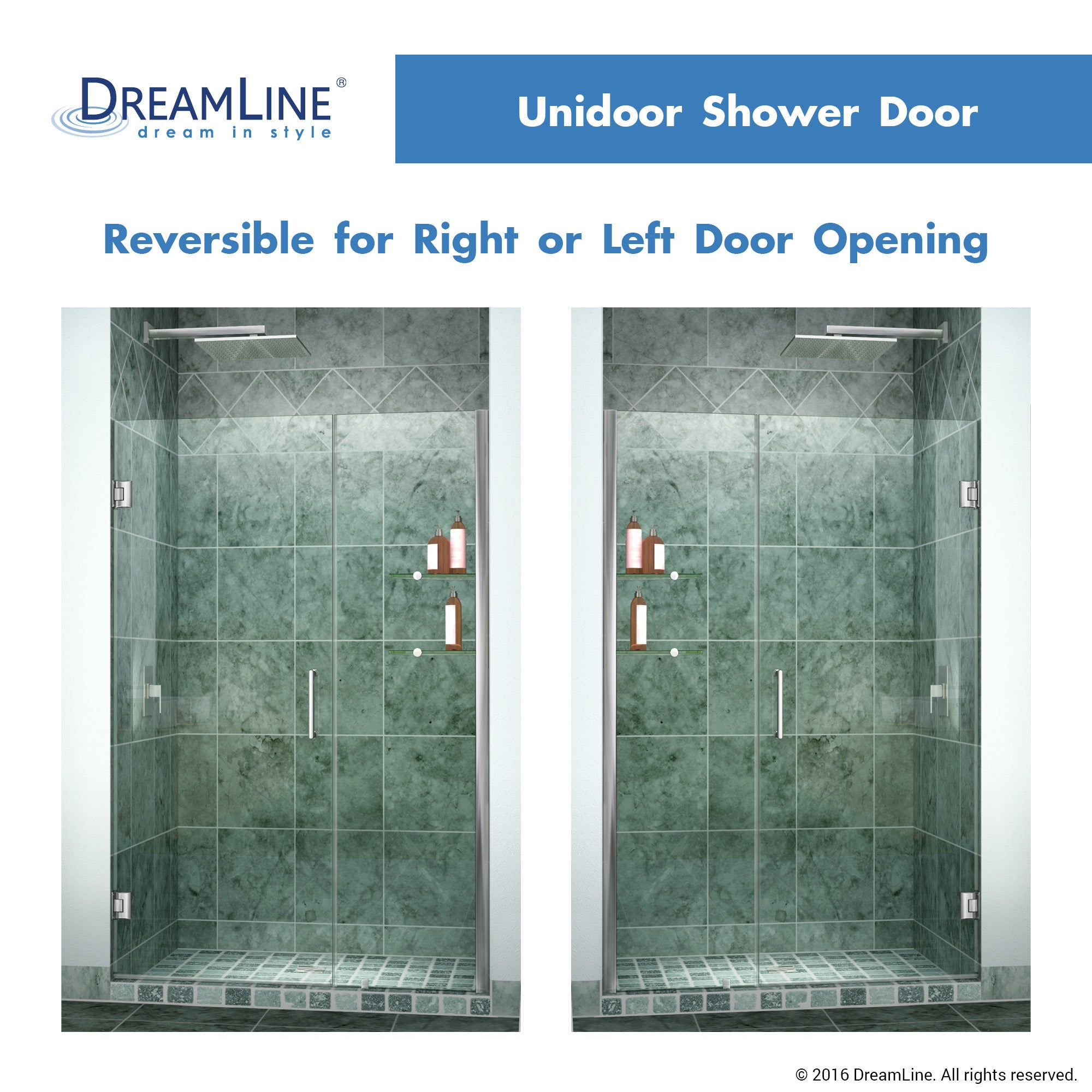 Shop DreamLine Unidoor 46 47 In. W X 72 In. H Frameless Hinged Shower Door  With Shelves, Clear Glass   Free Shipping Today   Overstock.com   6023510
