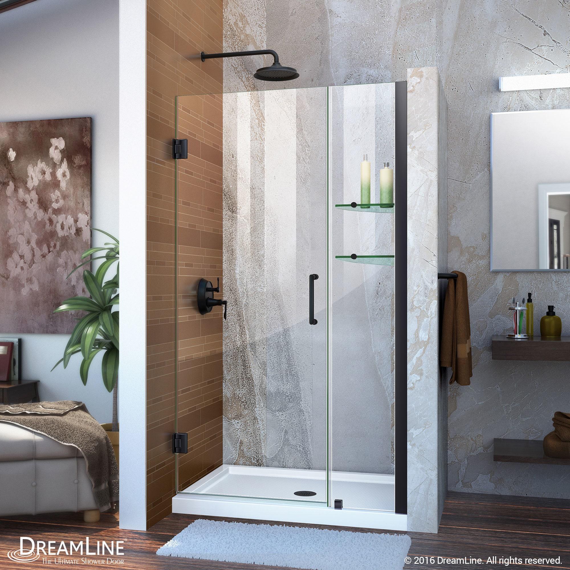 Shop DreamLine Unidoor 39 - 43 in. Frameless Hinged Shower Door ...