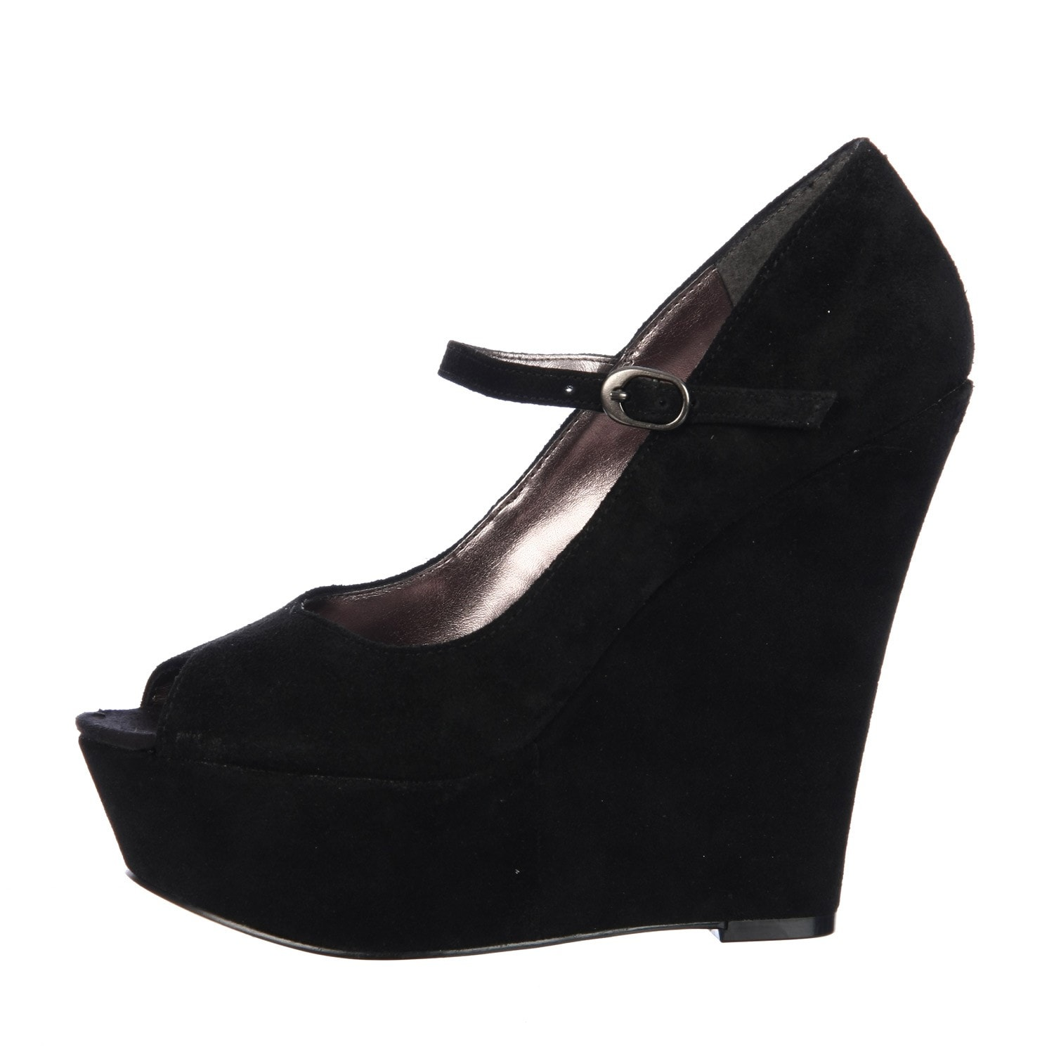 1cfa9a8cfdd Shop Steve Madden Women s  P-Sofiaa  Black Suede Mary Jane Wedges - Free  Shipping Today - Overstock - 6023630