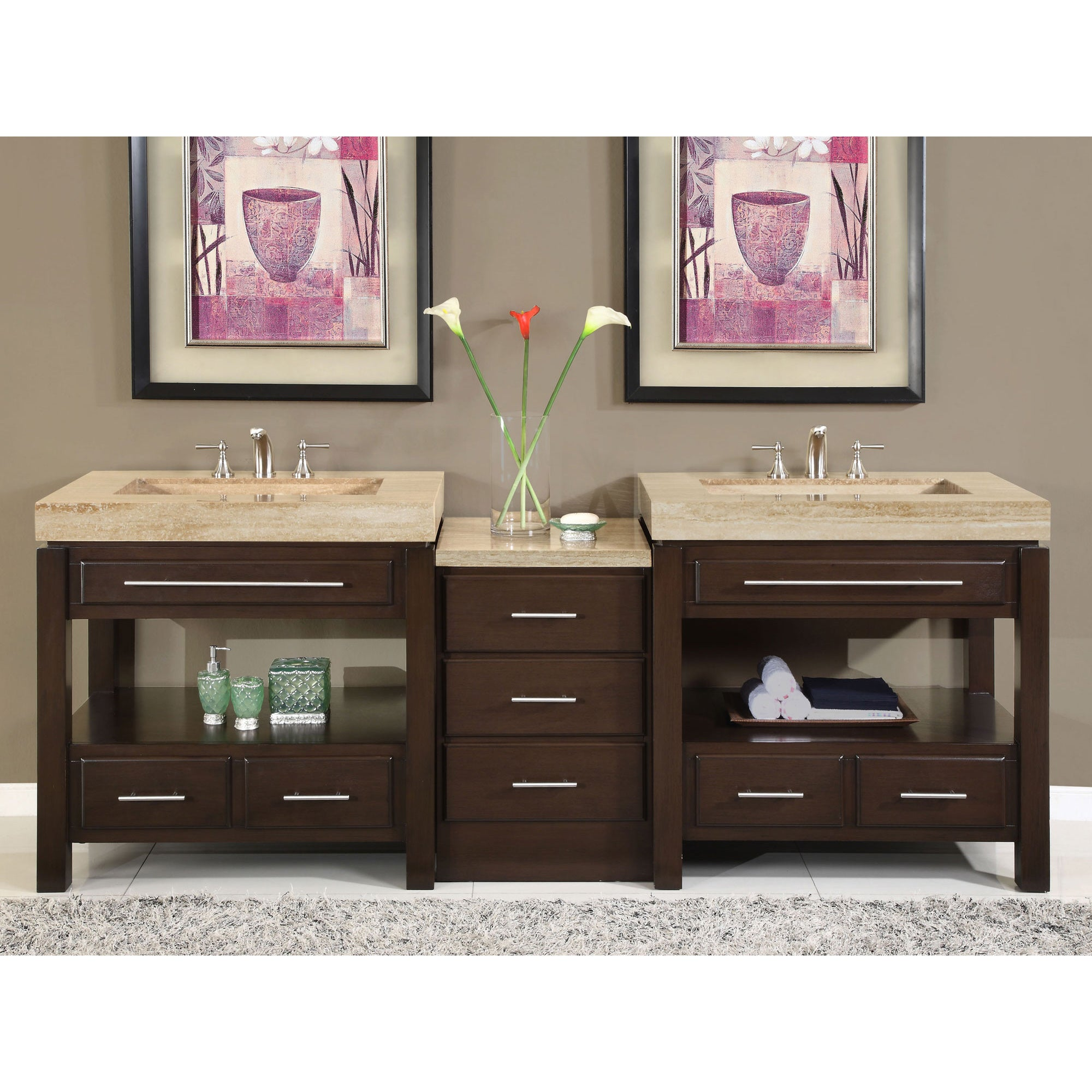 Silkroad Exclusive Travertine Countertop Double Stone Sink Bathroom Vanity Free Shipping Today 6026567