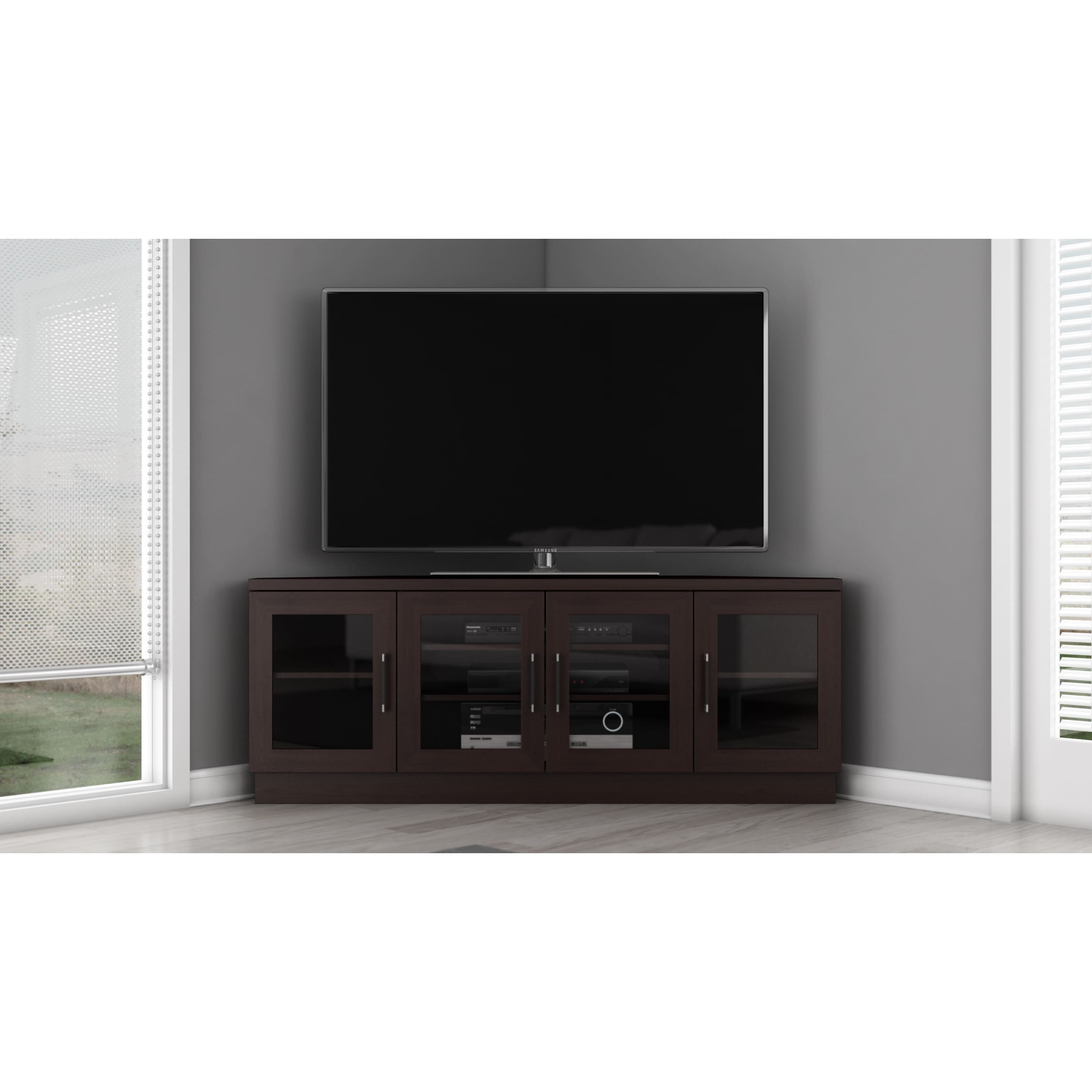 Shop Contemporary 60 Inch Wenge TV And Entertainment Corner Center   Free  Shipping Today   Overstock.com   6030047