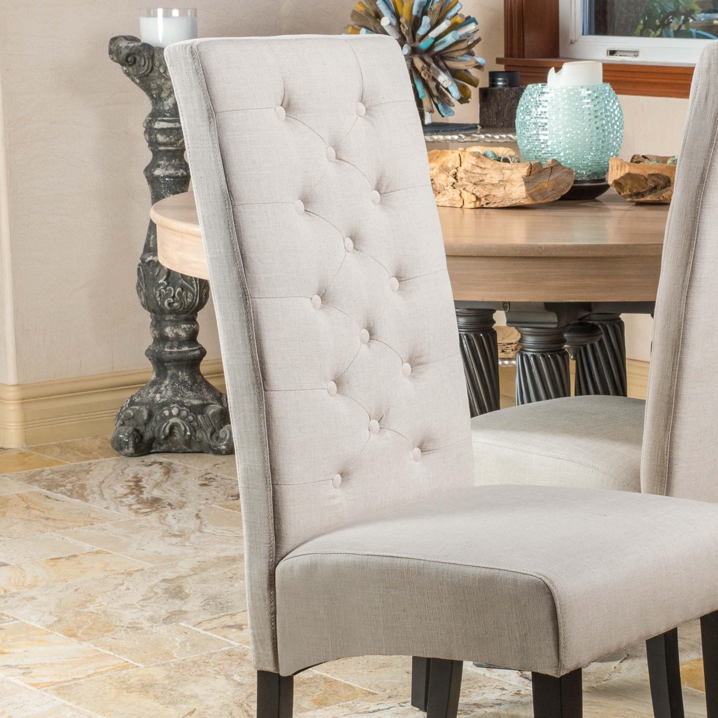 Shop Tall Back Natural Fabric Dining Chair (Set Of 2) By Christopher Knight  Home   On Sale   Free Shipping Today   Overstock.com   6033367