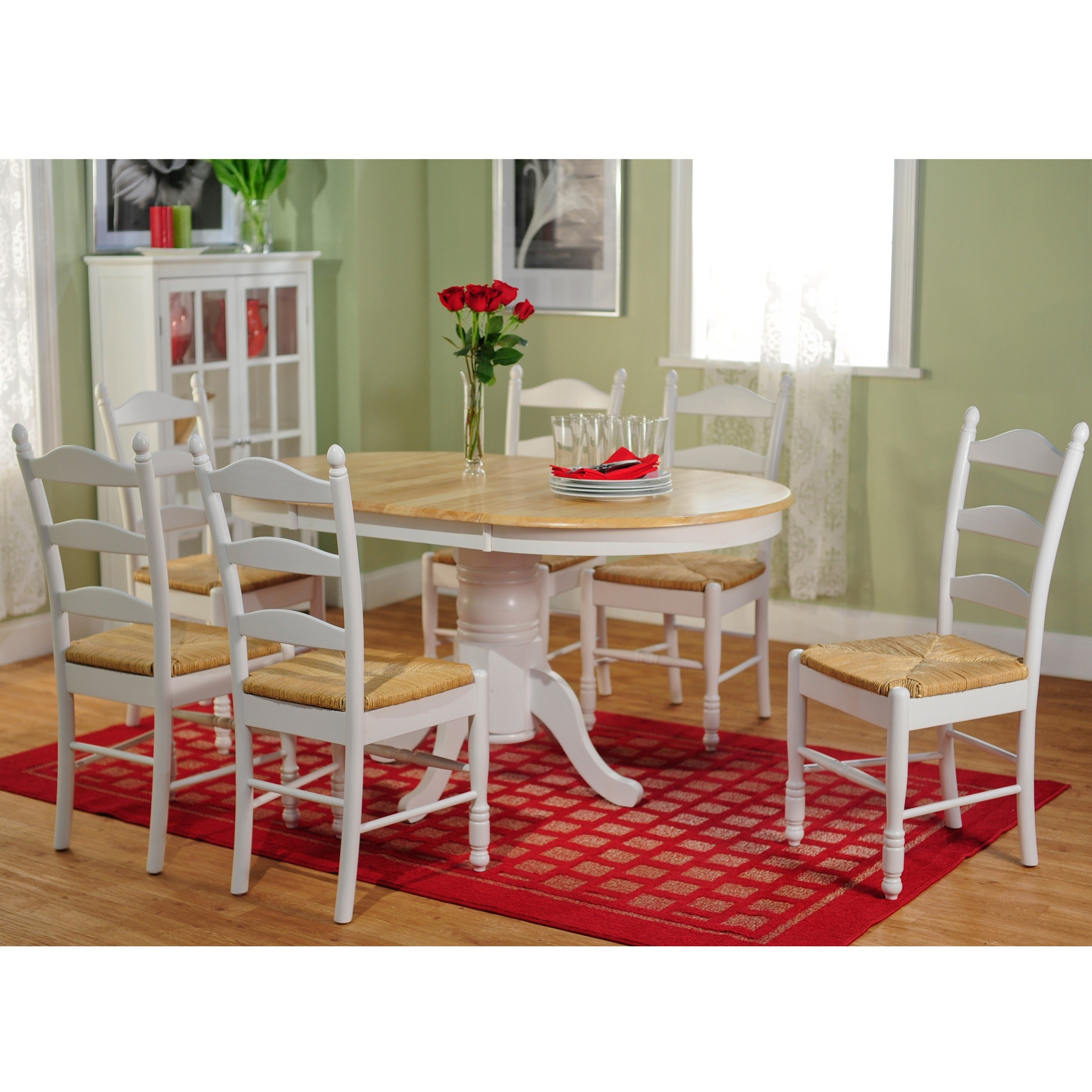 Wondrous Simple Living White Natural 7 Piece Ladderback Dining Set Beutiful Home Inspiration Cosmmahrainfo