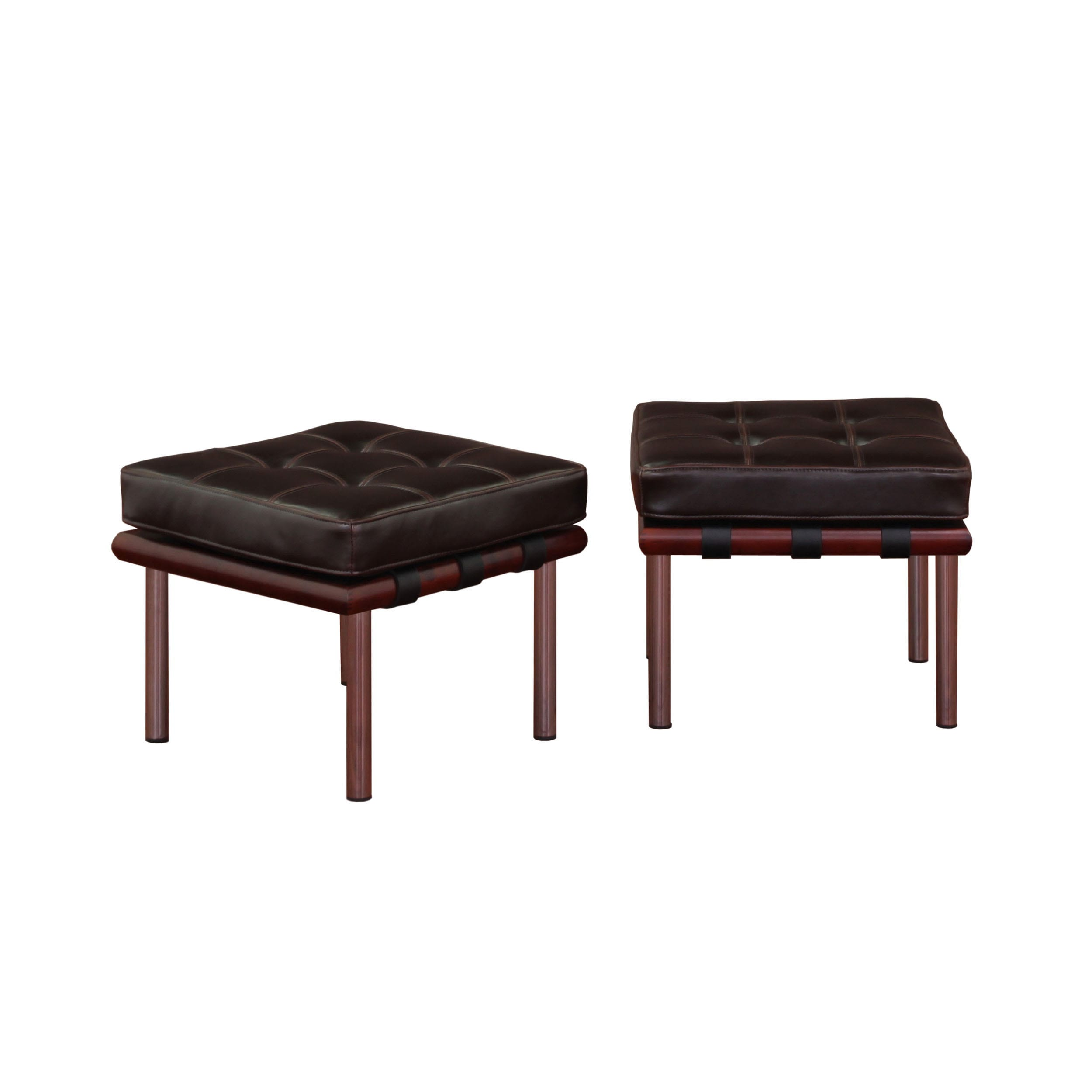 Andalucia Dark Brown Leather Ottomans Set of 2 Free Shipping