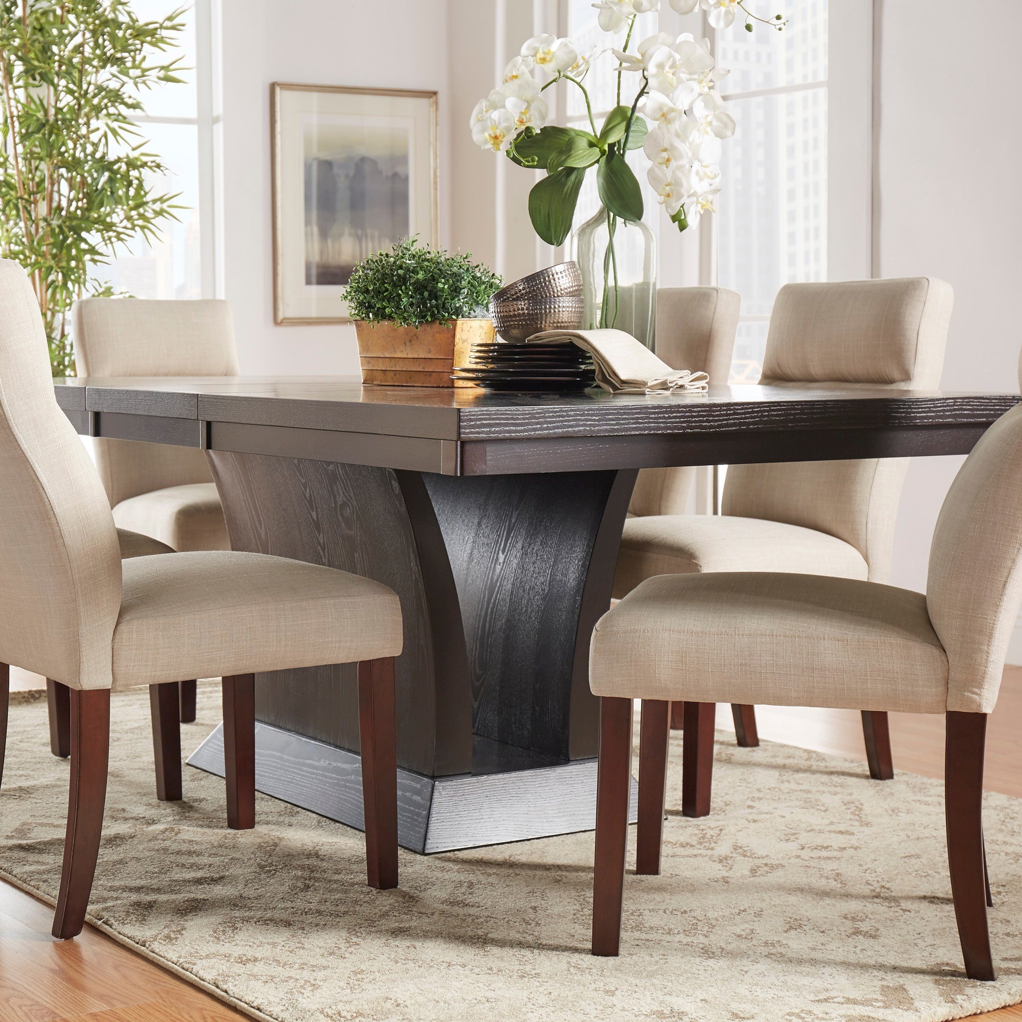 Shop charles espresso contemporary dining set by inspire q modern free shipping today overstock com 6048067
