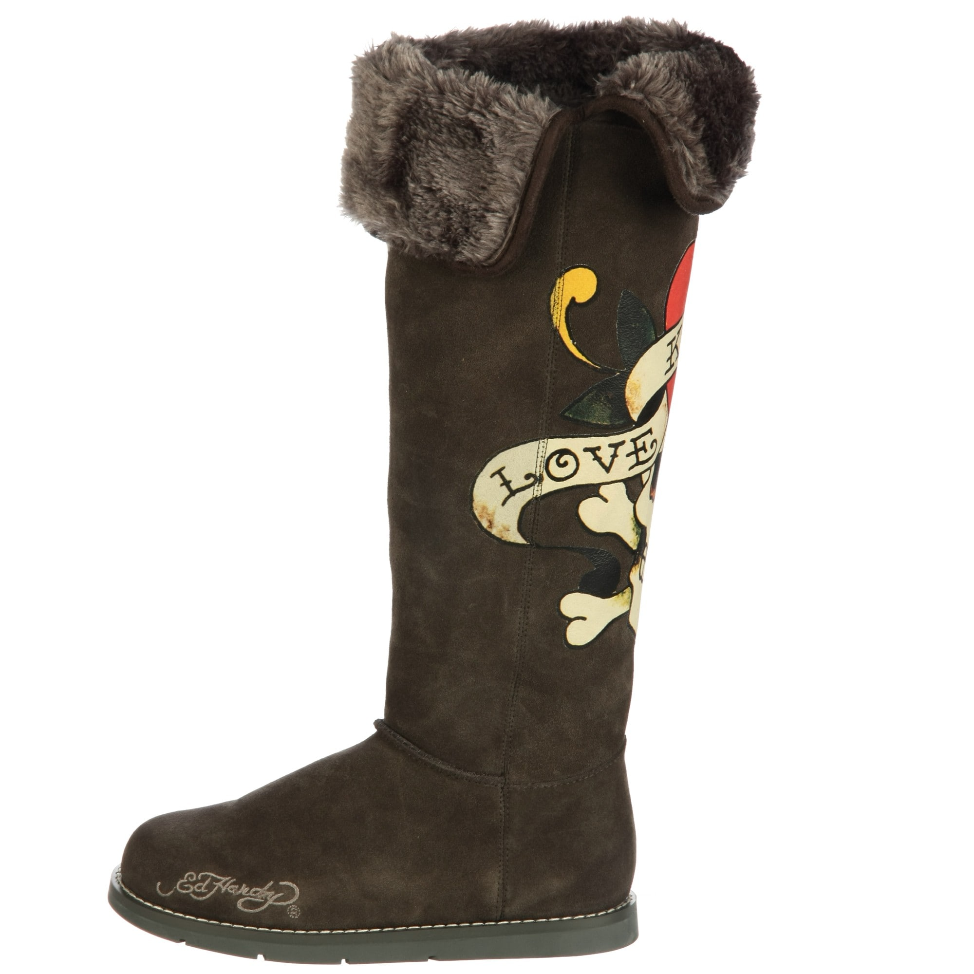 d6fe3fcc7a633a Shop Ed Hardy Women's 'Himalaya 2' Faux Fur High Boots FINAL SALE - Free  Shipping Today - Overstock - 6048099