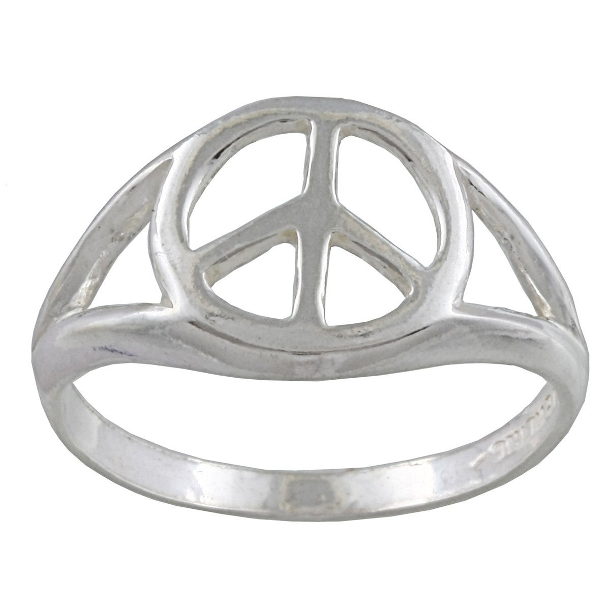 Shop Silvermoon Sterling Silver Peace Sign Ring Free Shipping On