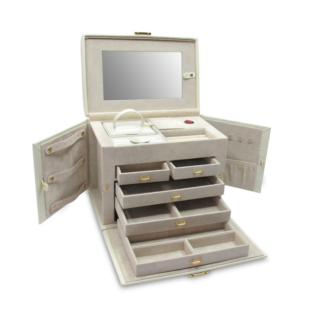 Morelle Co Jackquilyn Small Leather Illuninated Jewelry Box