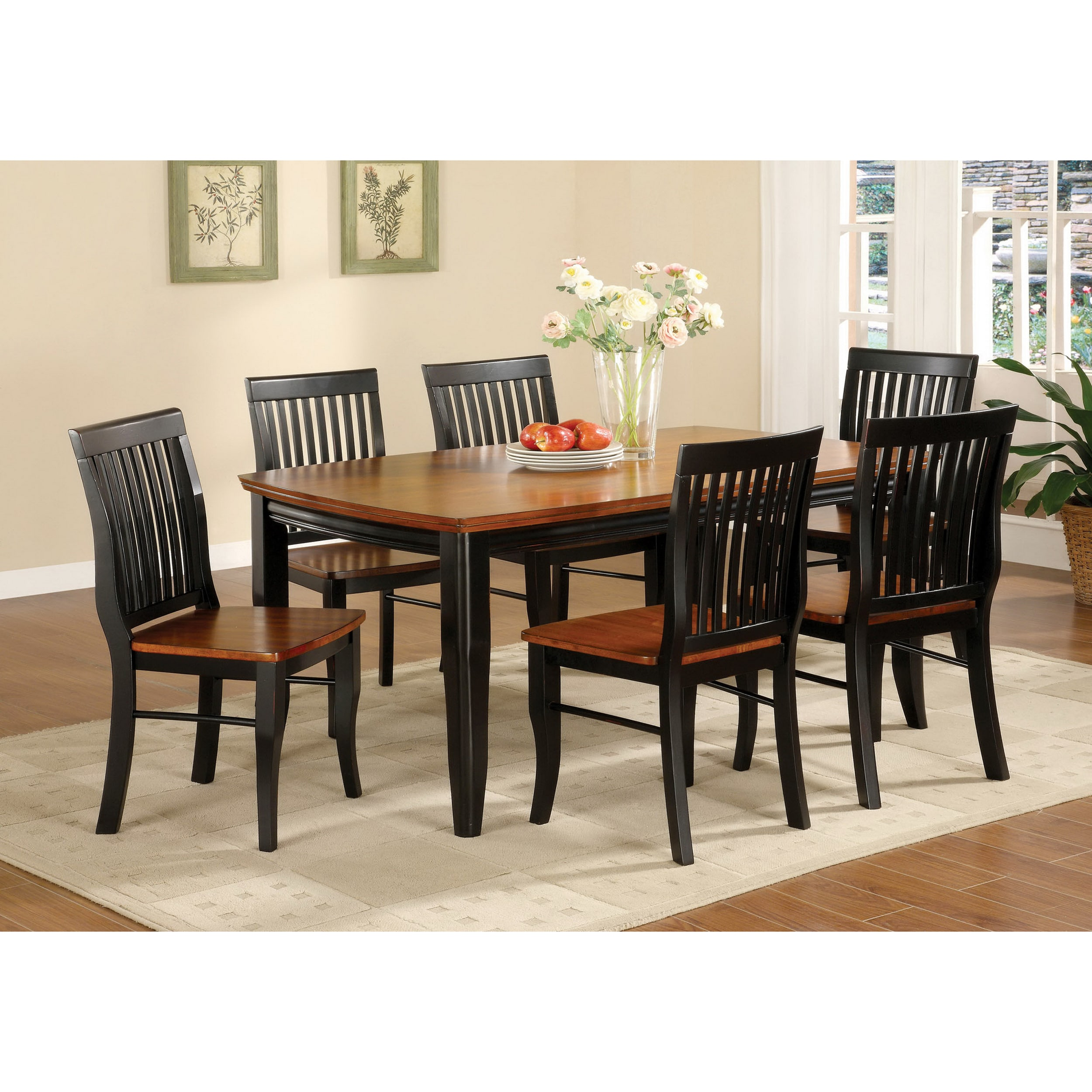 Furniture Of America Burwood Antique Oak Black Wood Dining Table