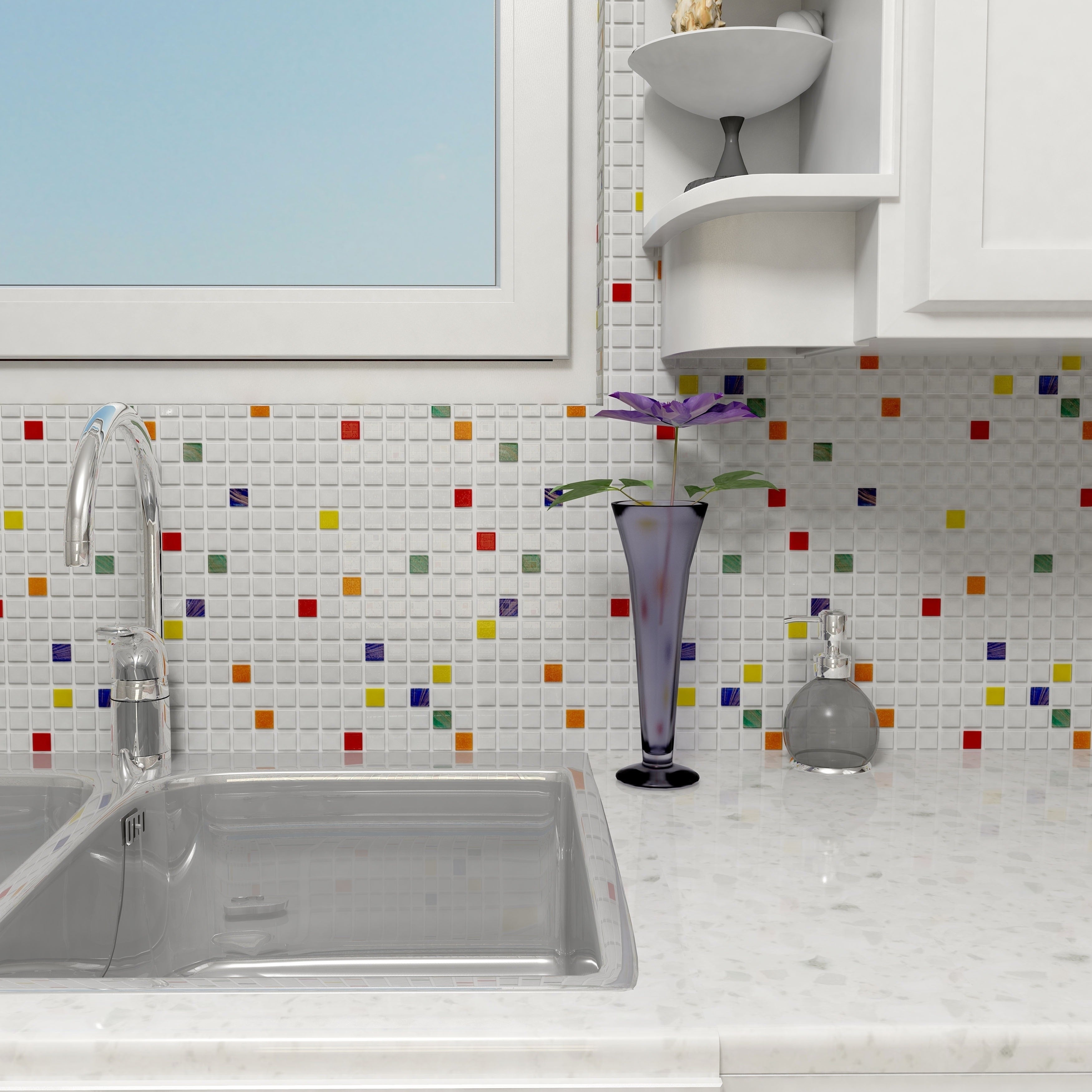Shop SomerTile 12x12-inch Cuivre Happy Glass Mosaic Wall Tile (13 ...