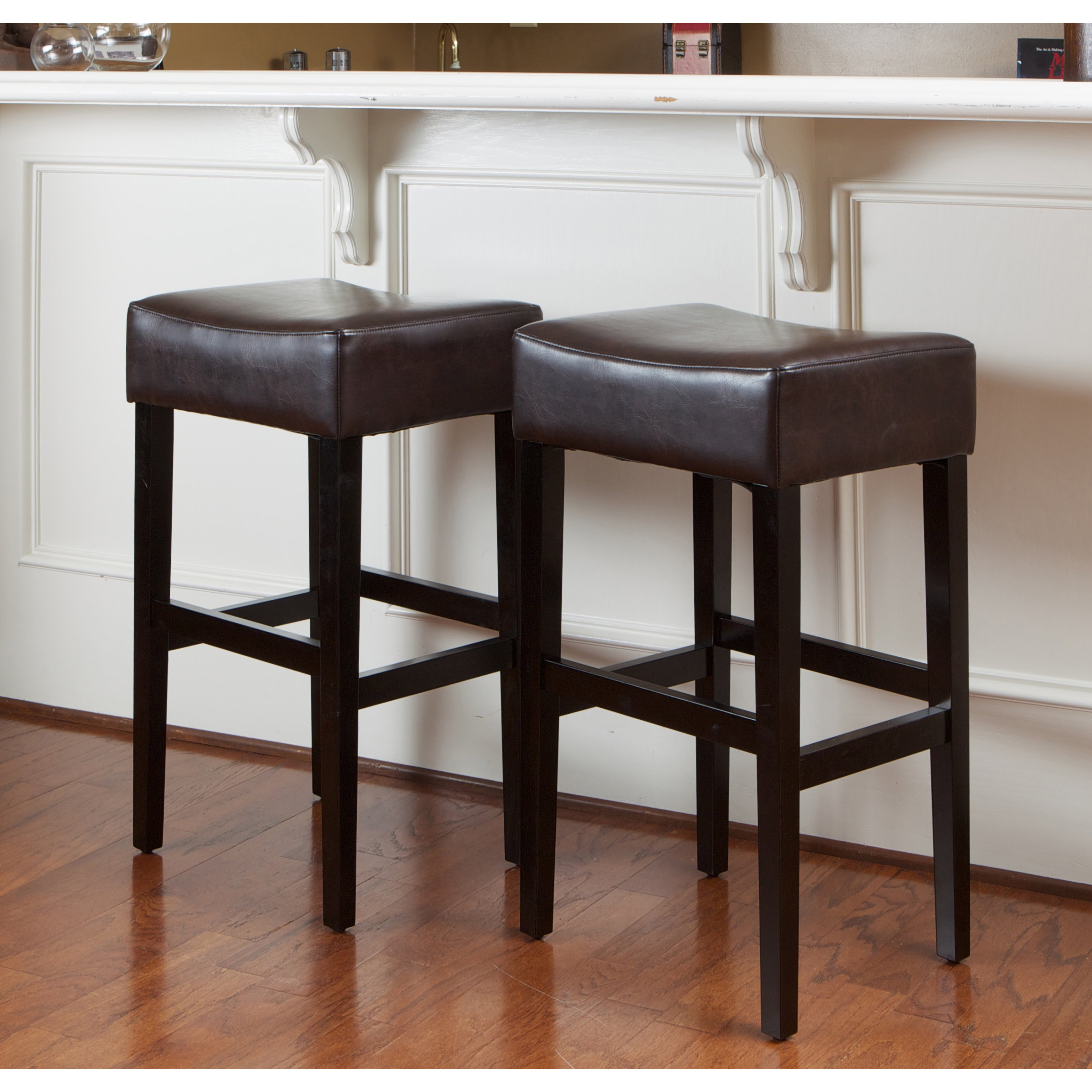 Shop Lopez 30 Inch Brown Leather Backless Bar Stools Set Of 2 By