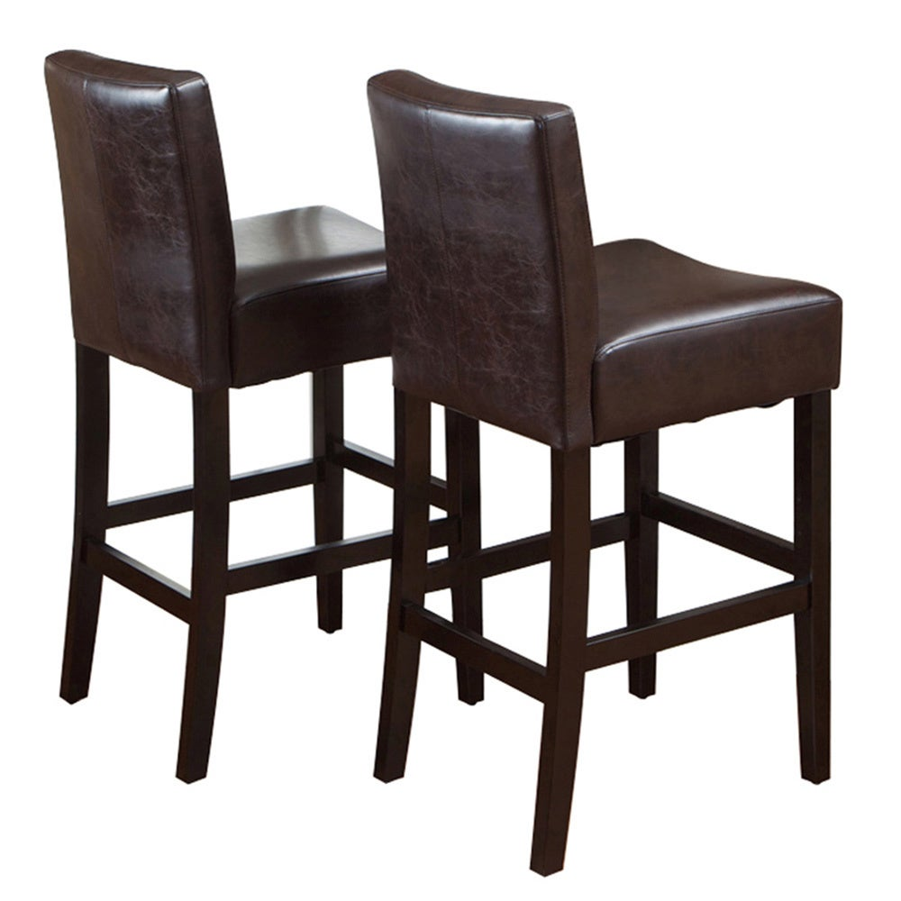 Shop lopez 30 inch brown leather bar stools by christopher knight home set of 2 n a free shipping today overstock com 6075646