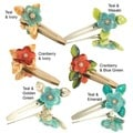 Handmade Glass Beads Flower Hair Clips (Set of 2) (United States)