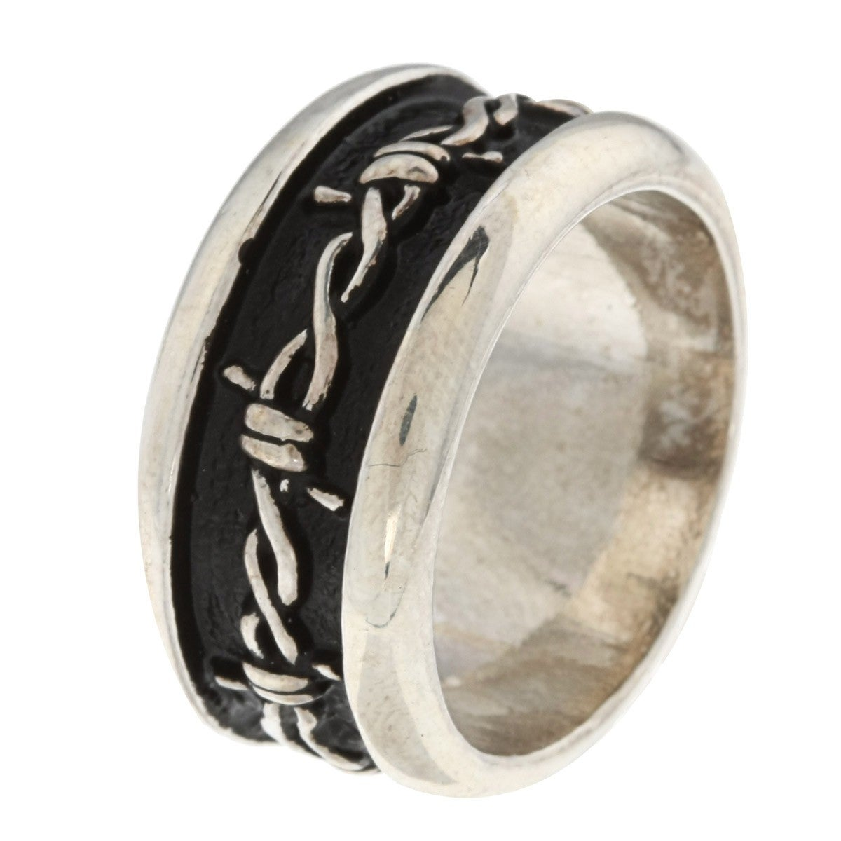 Shop Silvermoon Sterling Silver Barbed Wire Design Band - On Sale ...