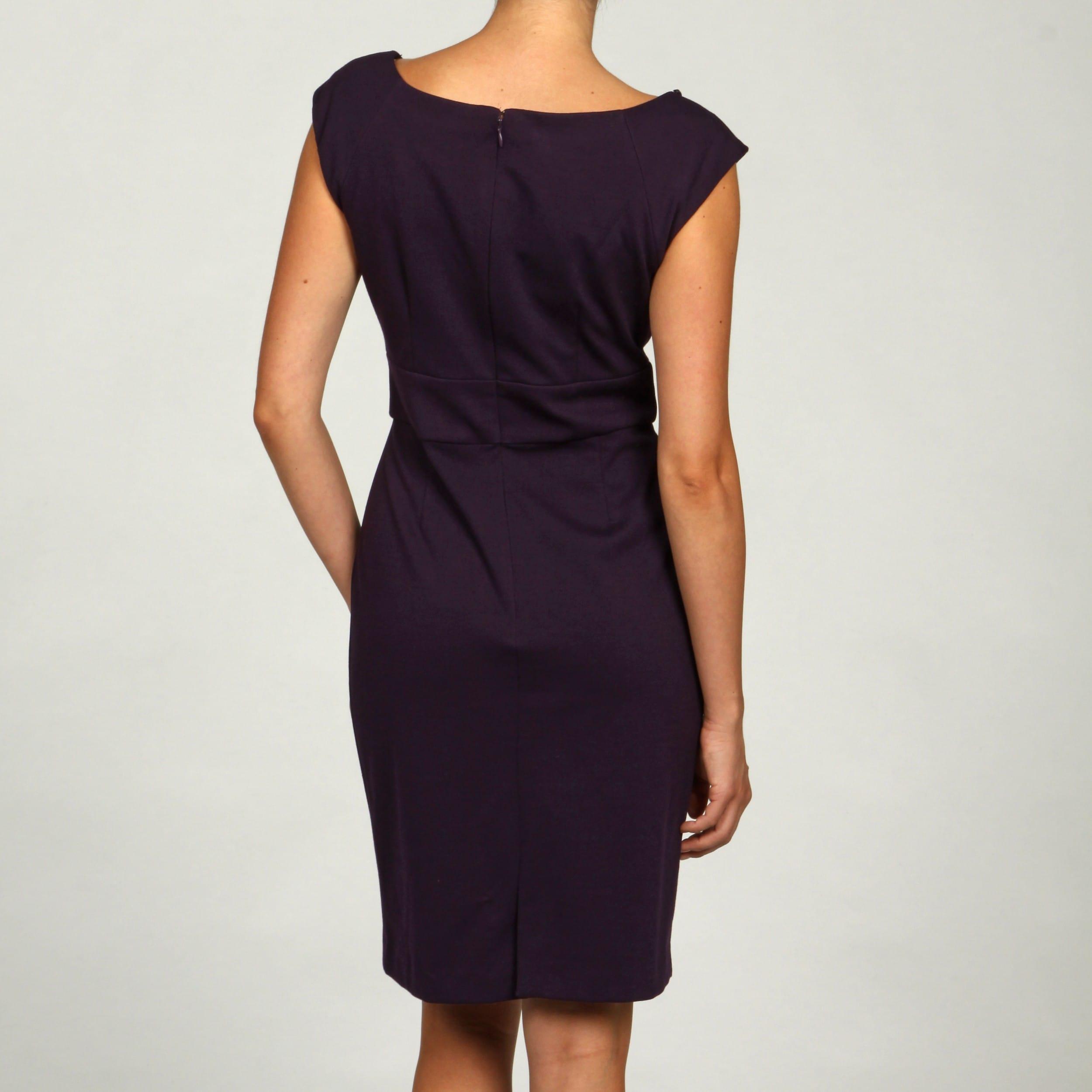 e6ed779f Shop Jessica Howard Women's Eggplant Beaded Ponte Dress - Free Shipping  Today - Overstock - 6089866