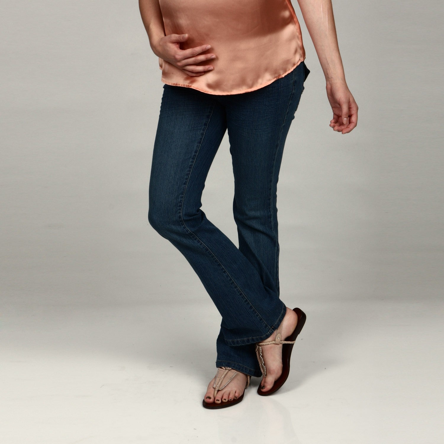 18858909ff671 Shop Oh! Mamma Maternity Under the Belly Bootcut Jeans - Free Shipping On  Orders Over $45 - Overstock - 6091350