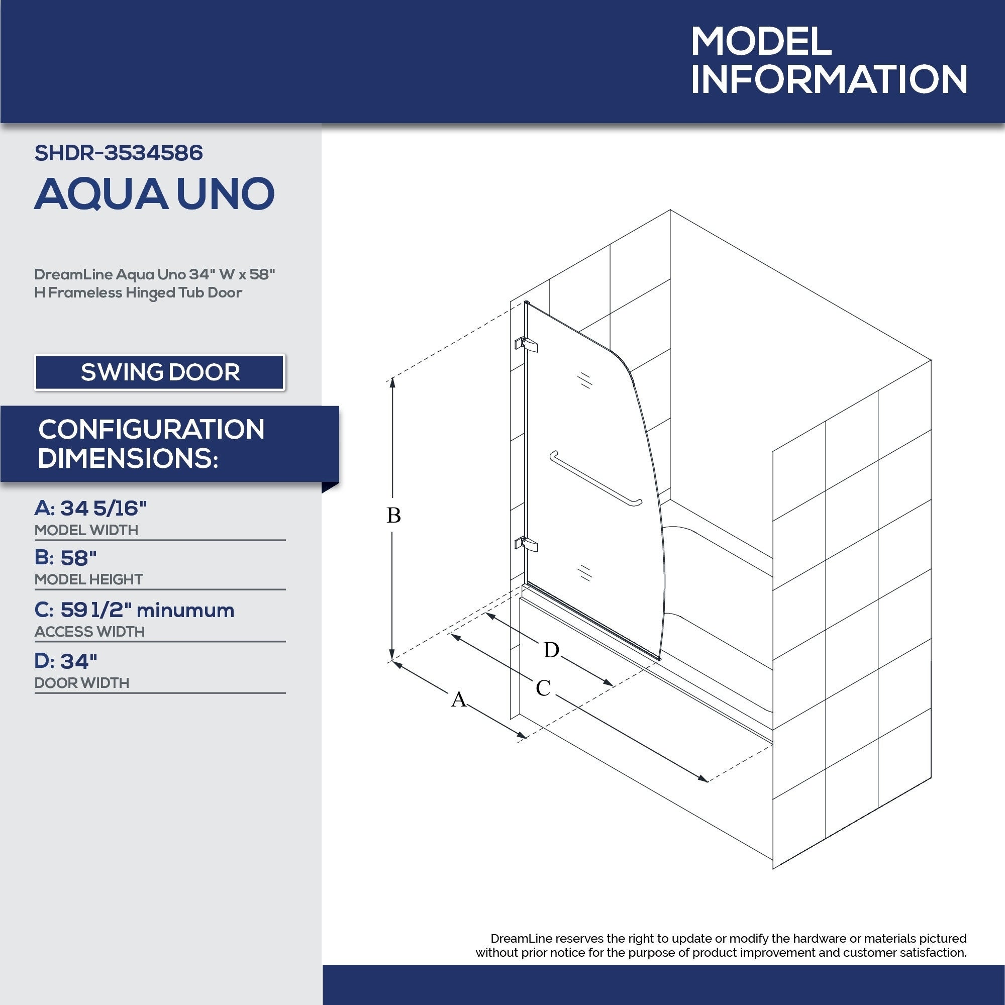 Shop DreamLine Aqua Uno 34 In. W X 58 In. H Frameless Hinged Tub Door    34.31 In. W X 58 In. H   Free Shipping Today   Overstock.com   6091798