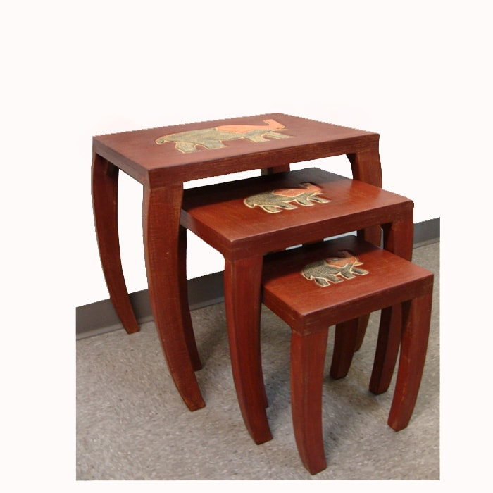 Shop Handmade Set of 3 Wooden Elephant Style Nested Tables (Ghana ...