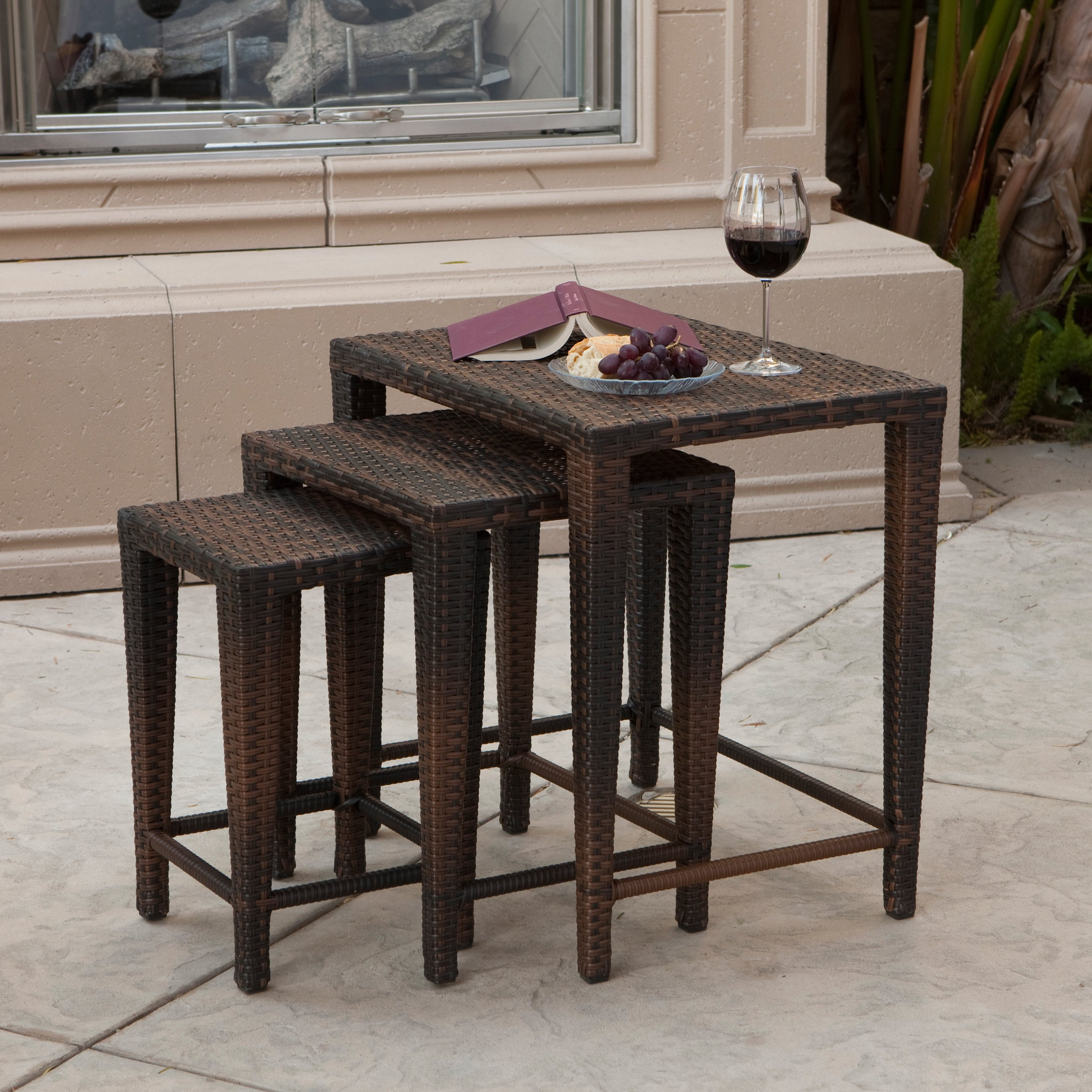 Shop Outdoor Wicker Nested Tables By Christopher Knight Home (Set Of 3)    Free Shipping Today   Overstock.com   6110478