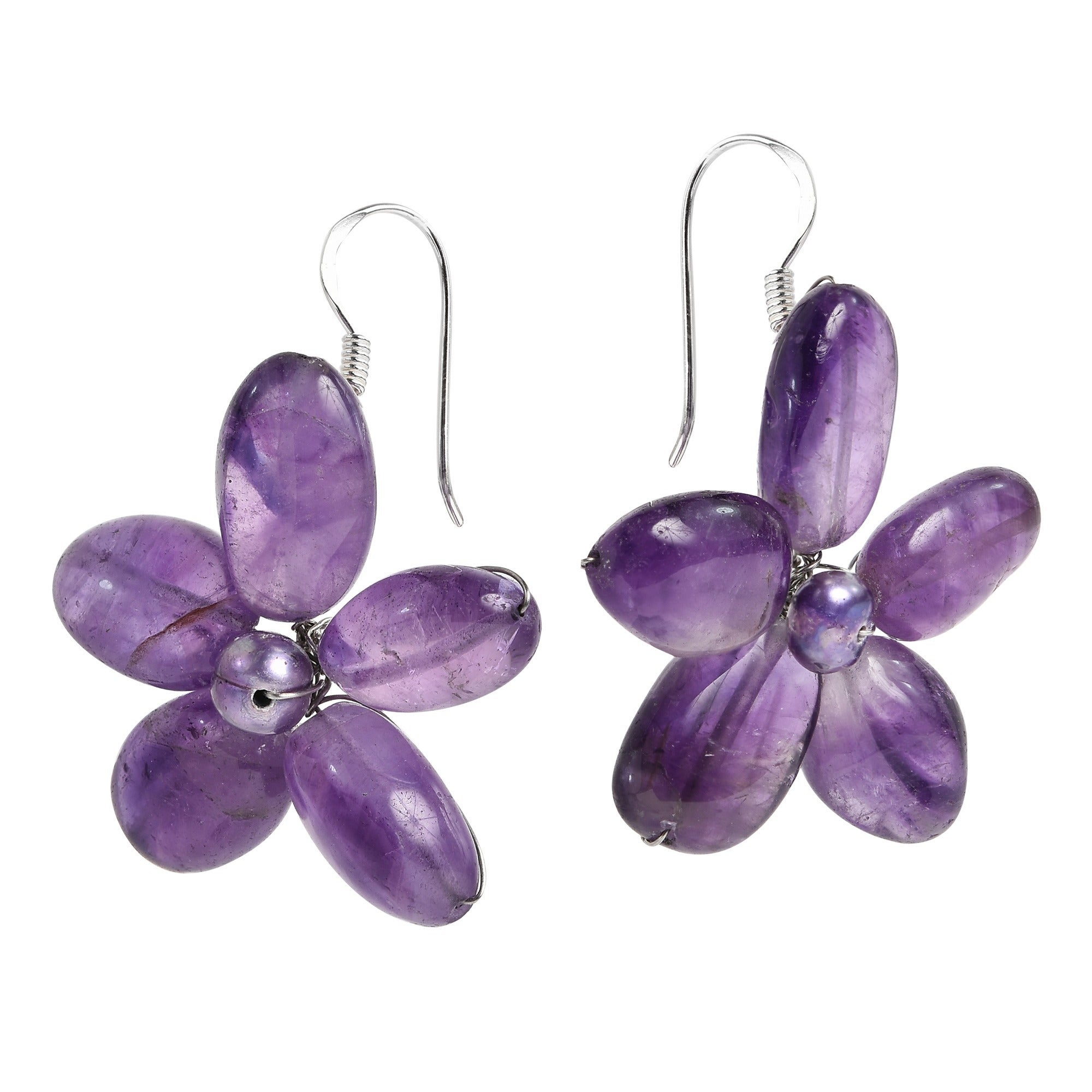 flower asp purple earrings p large vintage