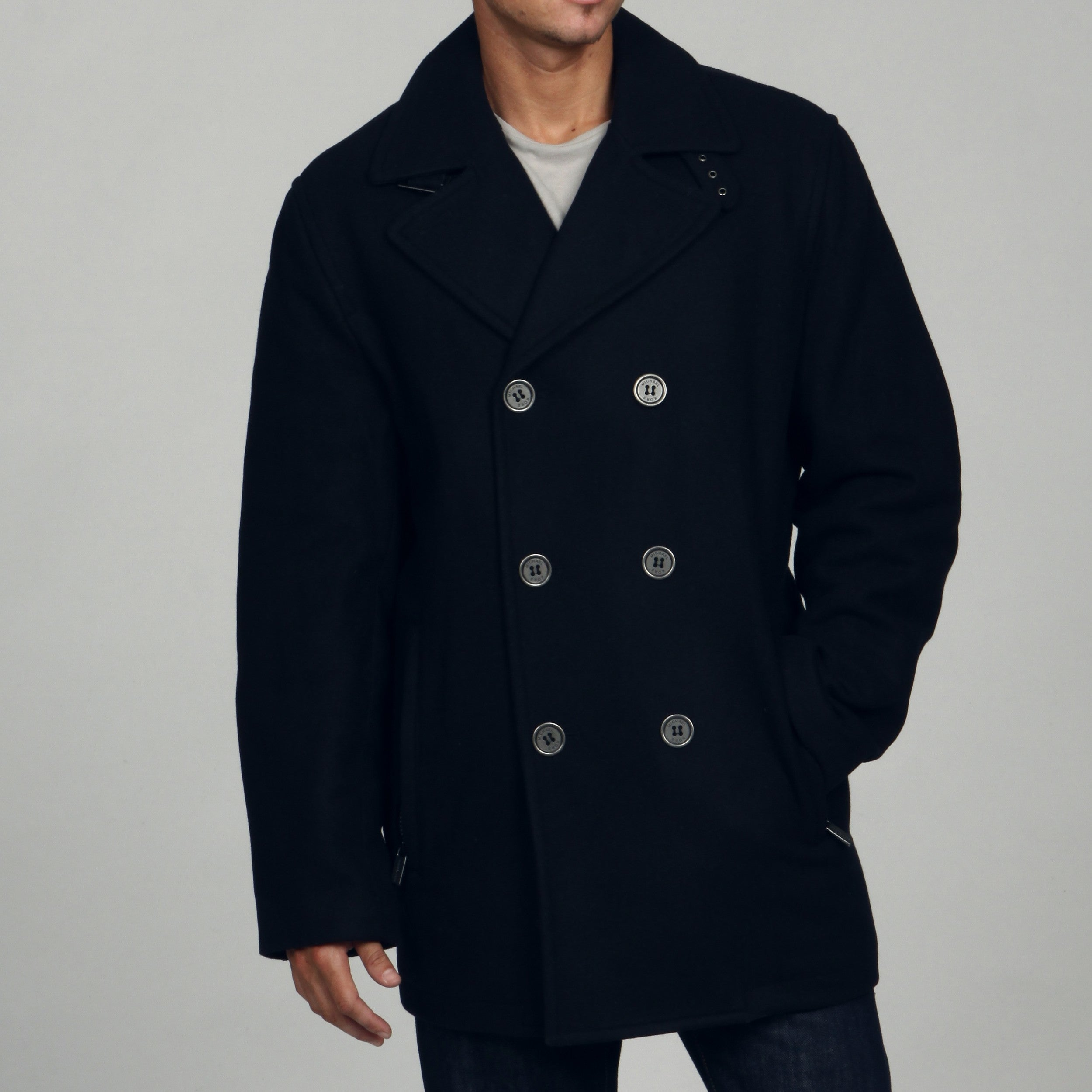 66e56a76d3c Shop MICHAEL Michael Kors Men s Wool Blend Double Breasted Peacoat FINAL  SALE - Free Shipping Today - Overstock - 6128690