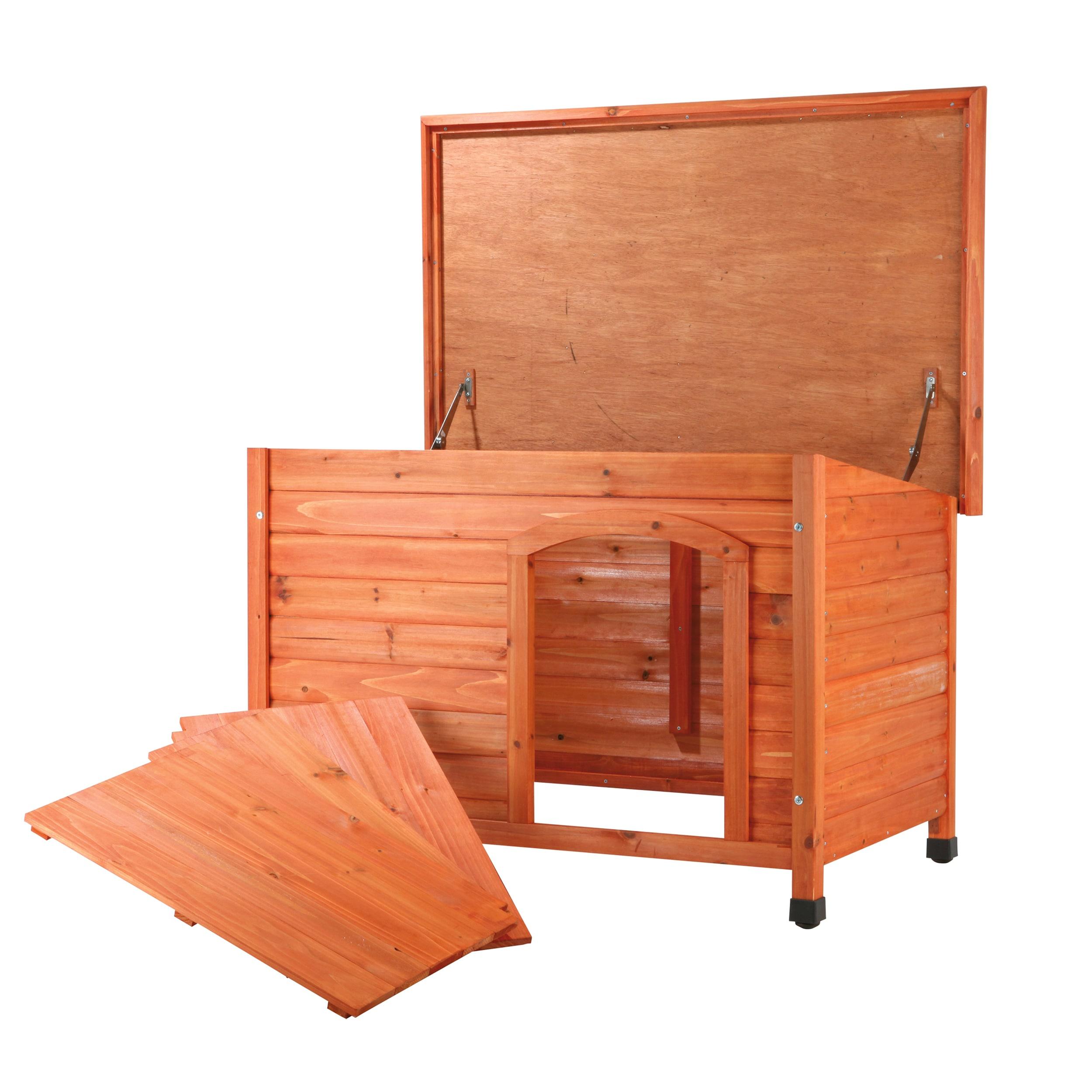 Trixie Natura Medium Weatherproof Flat Roof Glazed Pine Doghouse Free Shipping Today 6141866