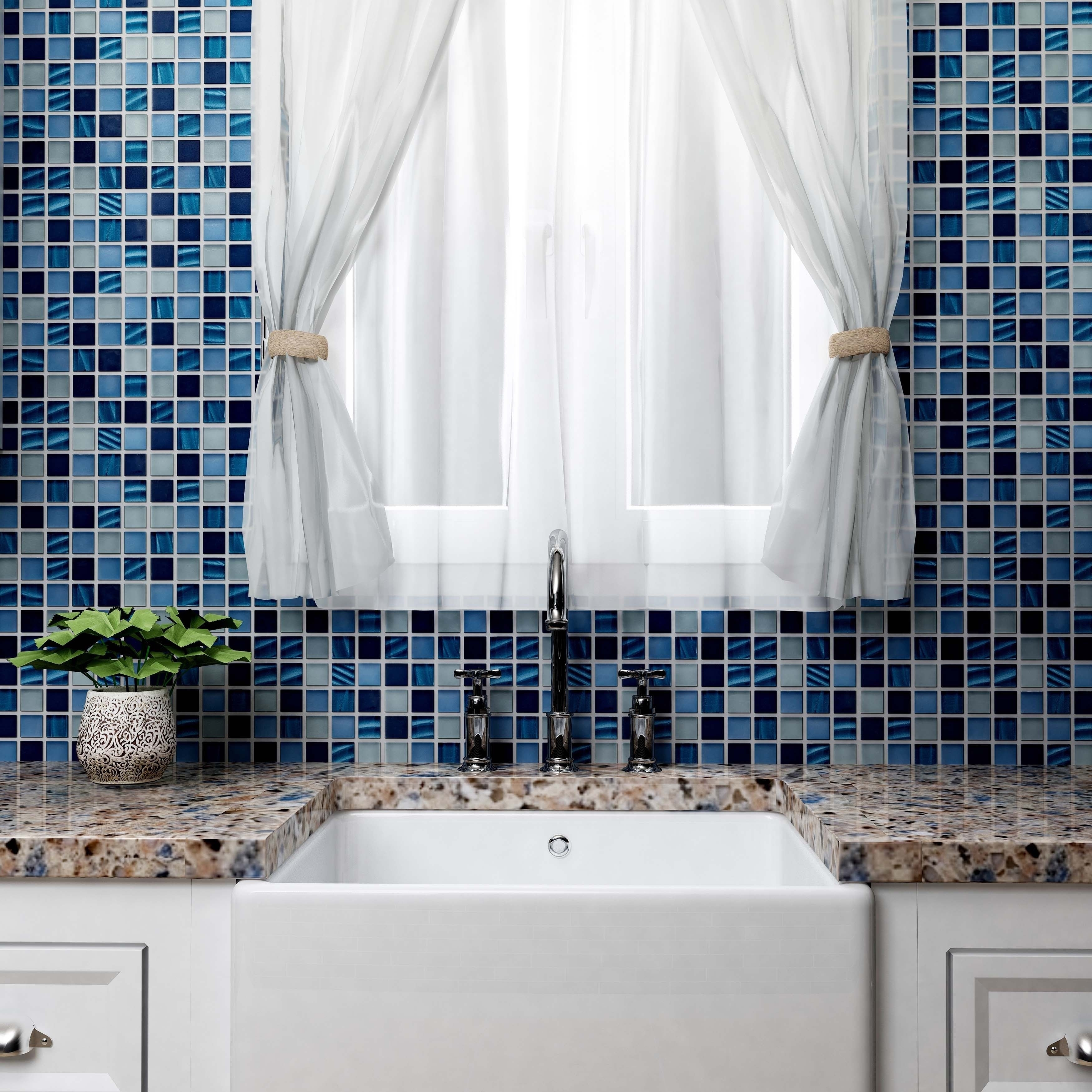 Shop SomerTile 11.75x11.75-inch Maritime Abalone Glass Mosaic Wall ...