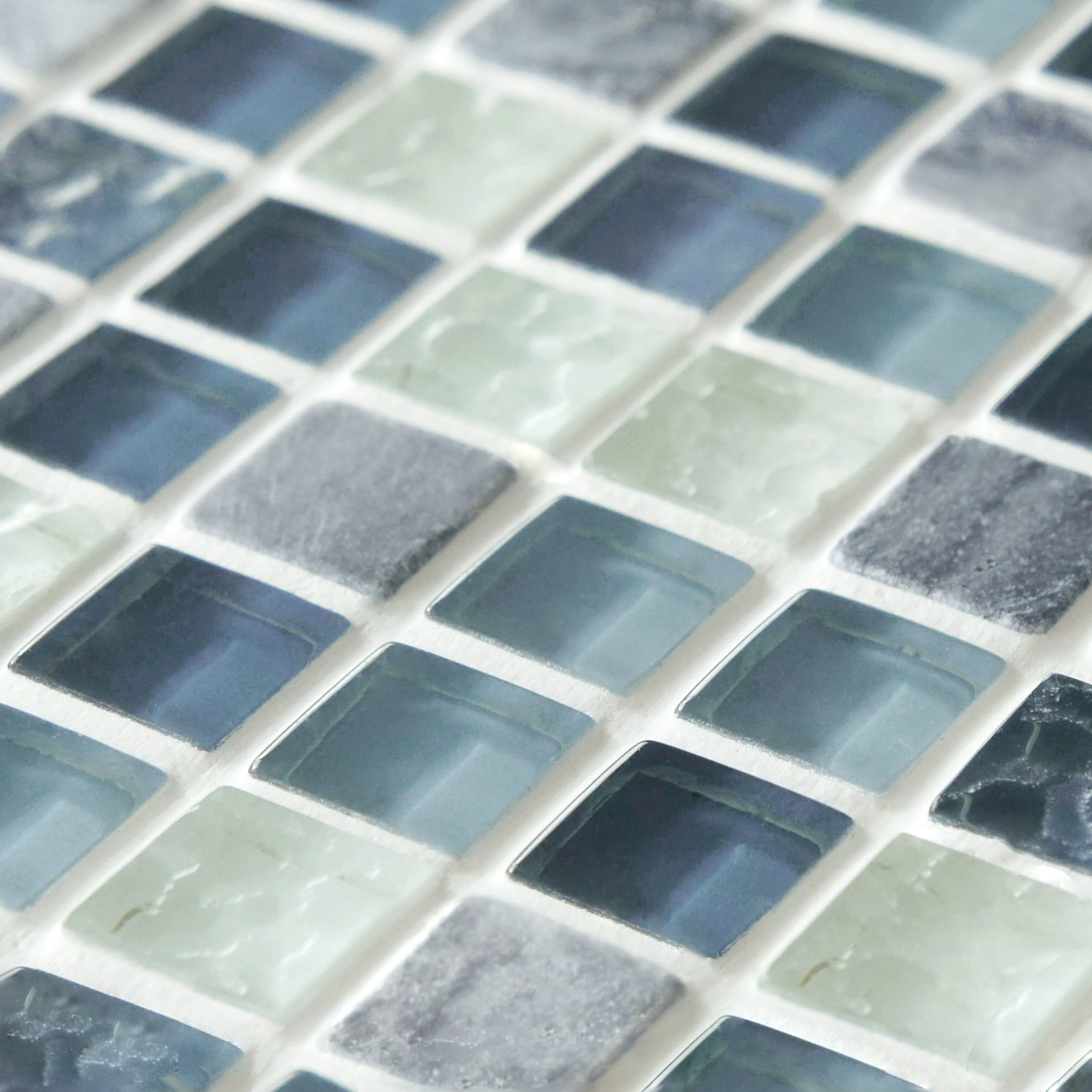 SomerTile 11.75x11.75-inch Reflections Mini Gulf Glass and Stone ...