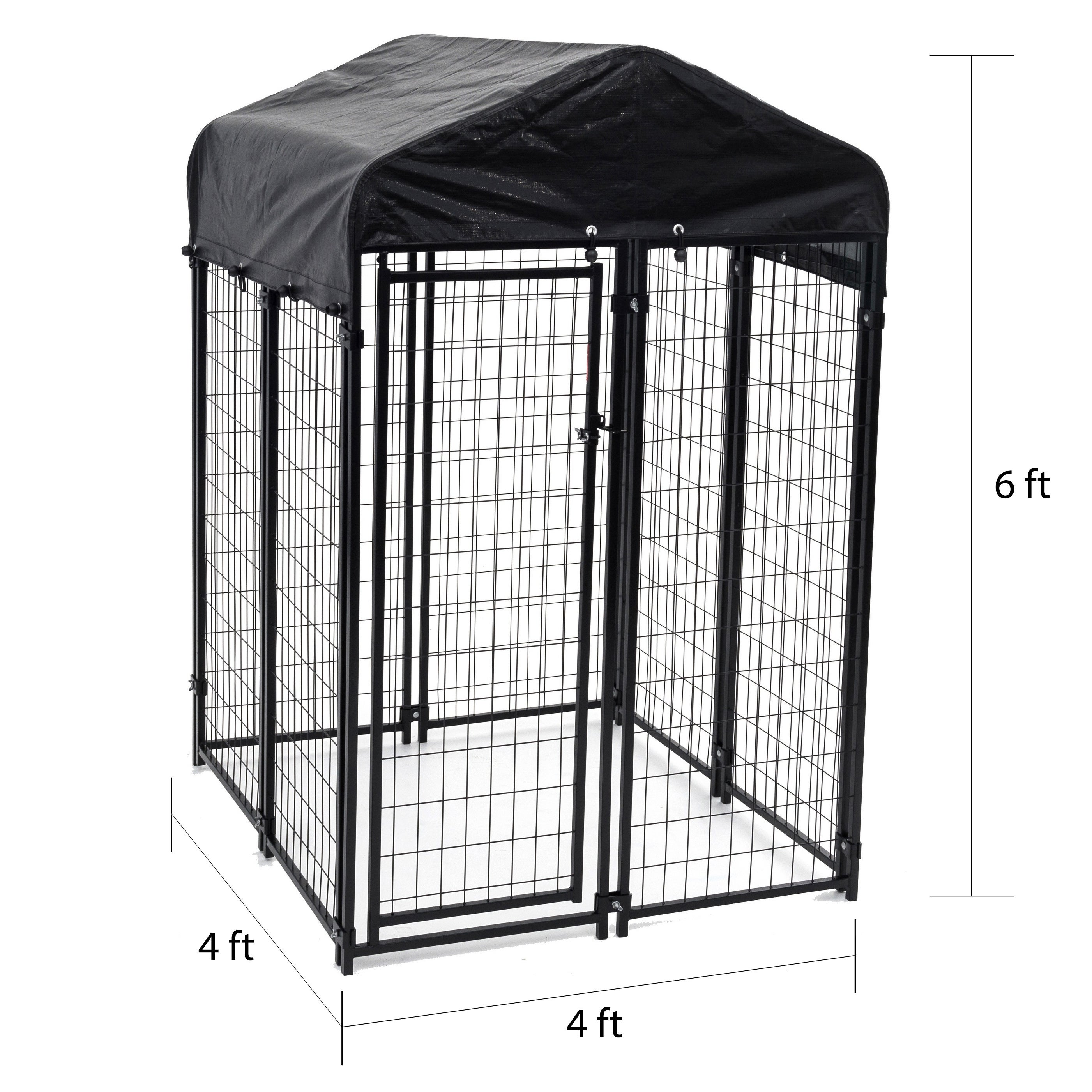 Shop Lucky Dog Black Uptown Welded Wire Dog Kennel - Free Shipping ...