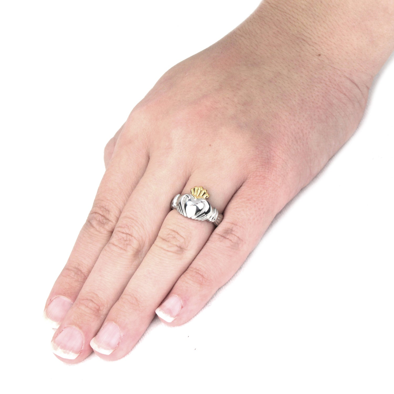 ELYA Two-tone Stainless Steel Claddagh Ring - Free Shipping On ...