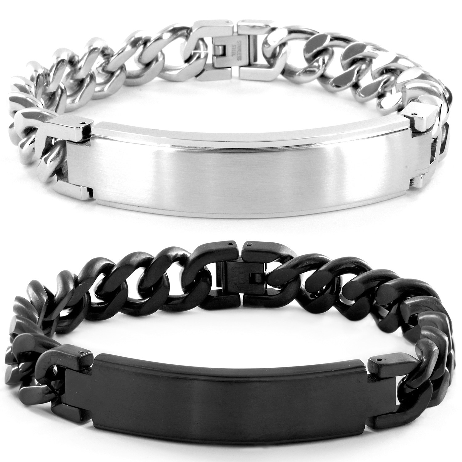steel design wide checkered bracelet impl with inch identification curb home link stainless cross shopcart sabrinasilver bracelets id