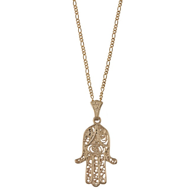 Yellow gold hamsa necklace free shipping today overstock yellow gold hamsa necklace free shipping today overstock 13810053 aloadofball Gallery