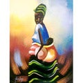 Handmade Nana Kojo 'African Mother Profile' Unframed Canvas Painting (Ghana)