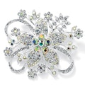 Round Aurora Borealis Crystal Silvertone Bouquet Pin Color Fun