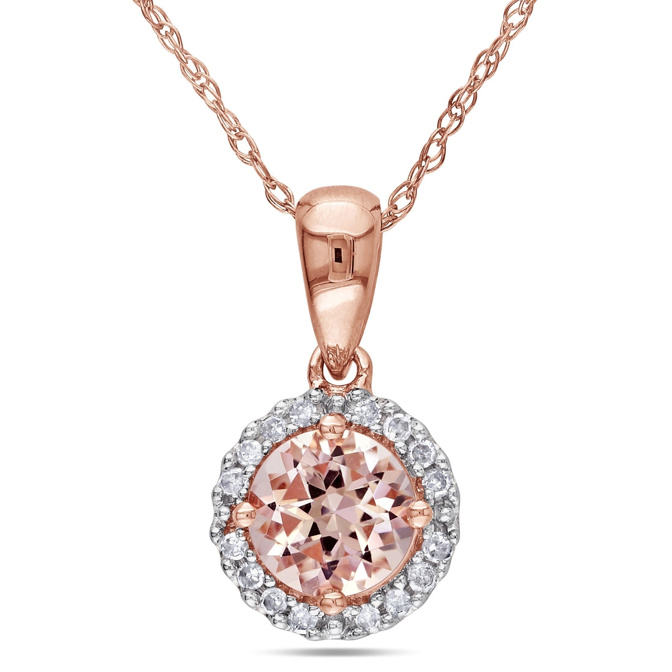 in pendant halo accents diamond morganite carat with sterling necklace rose gold over