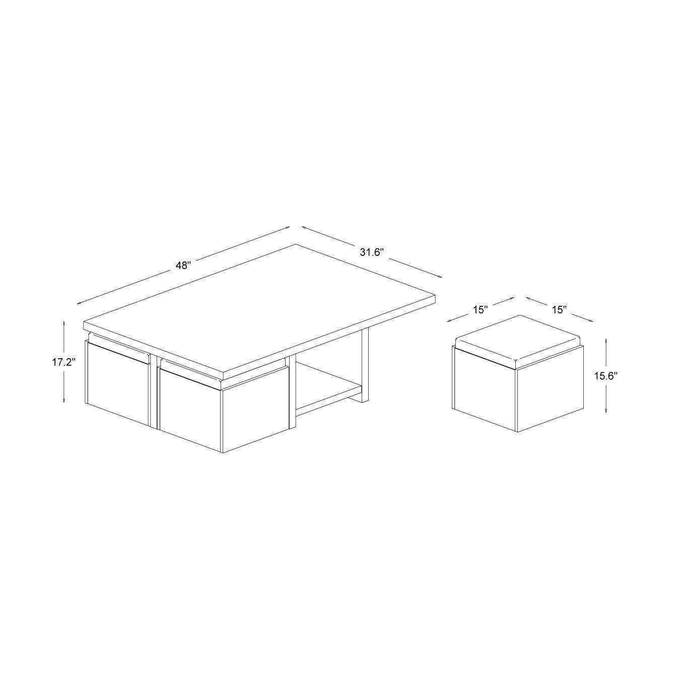 Baxton Studio Prescott Modern Table With Nesting Stool Storage Set Free Shipping Today 13818697