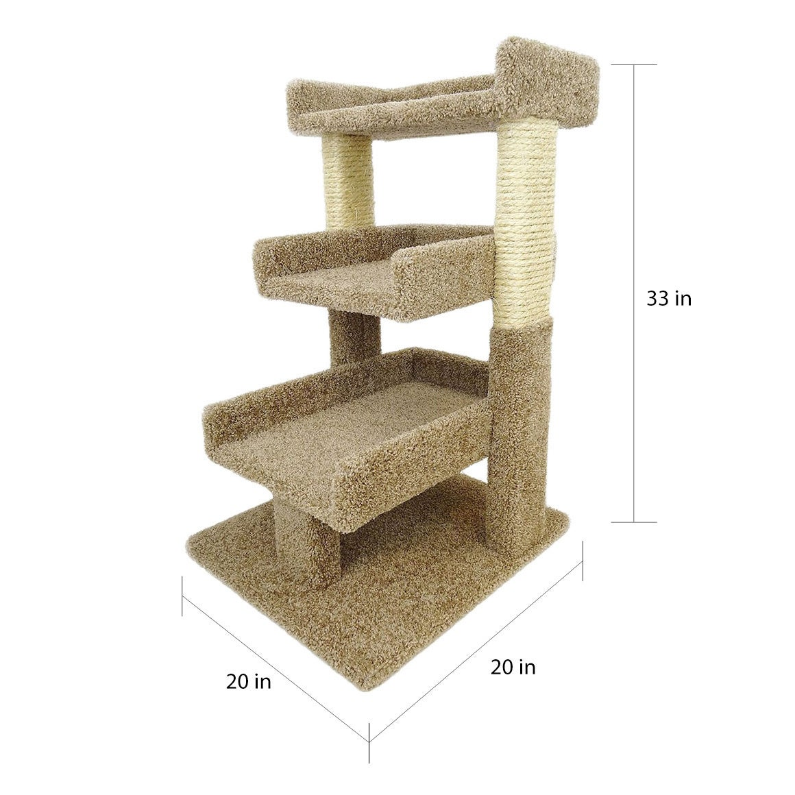 New Cat Condos Sisal Rope 33 Inch Triple Perch Free Shipping Today 6165774
